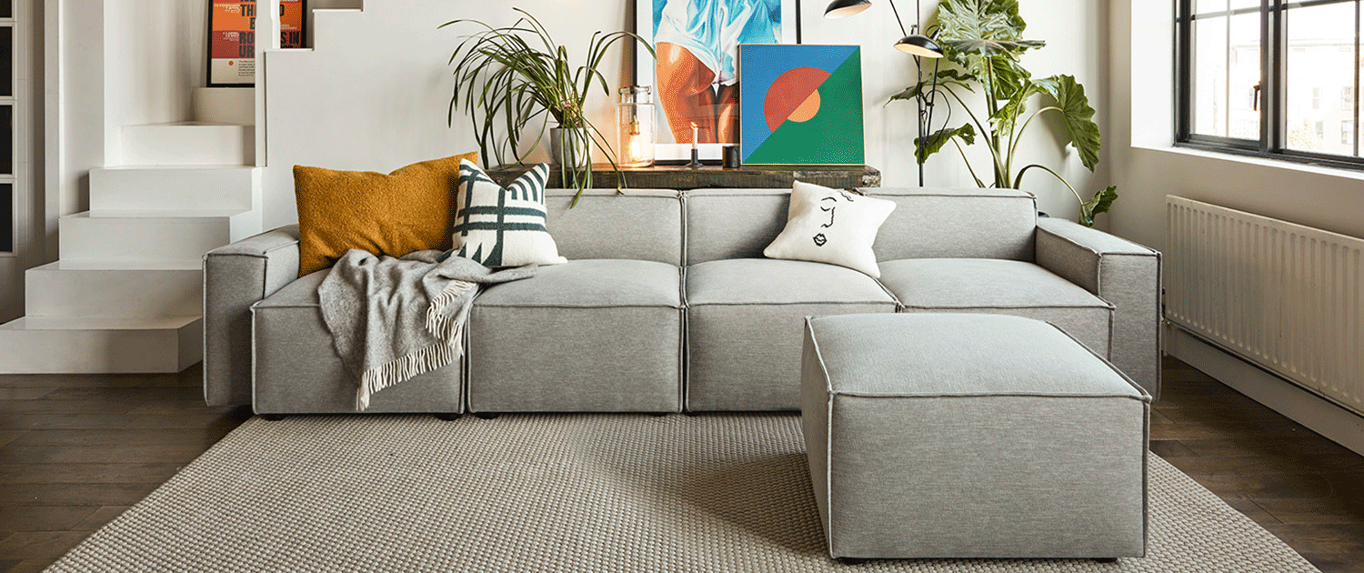 Model 03 4 Seater Sofa with ottoman in Shadow Linen Lifestyle image