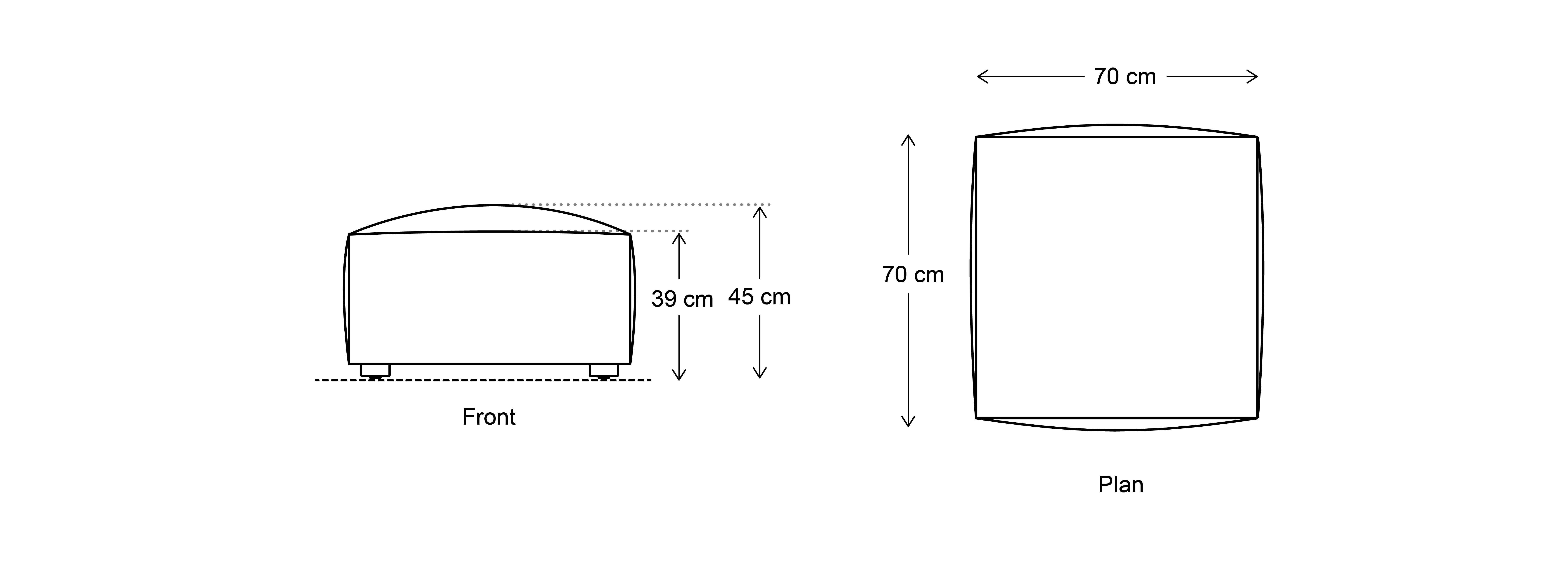 Model 03 Ottoman Dimensions Drawing