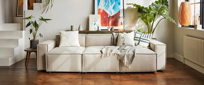 Model 03 Corner Sofa in Light Grey Velvet Lifestyle image