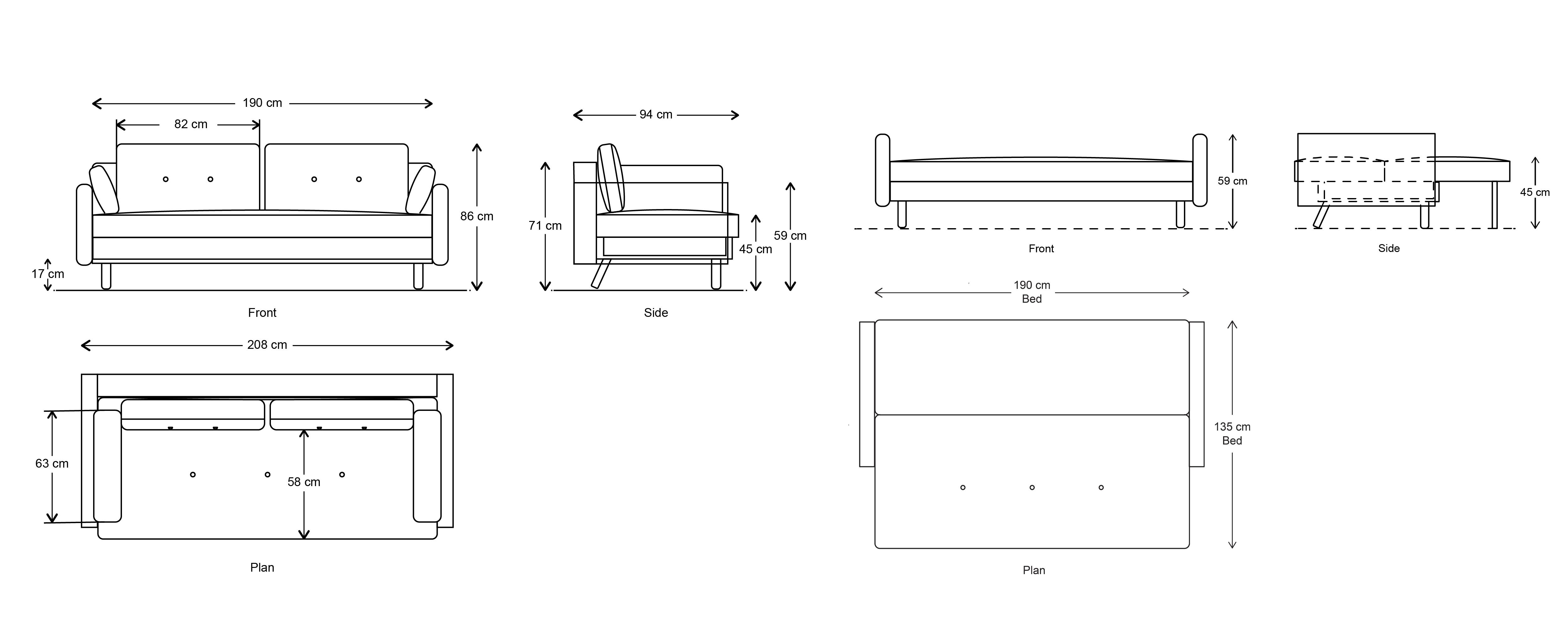 Model 04 Sofa Bed Dimension Drawings