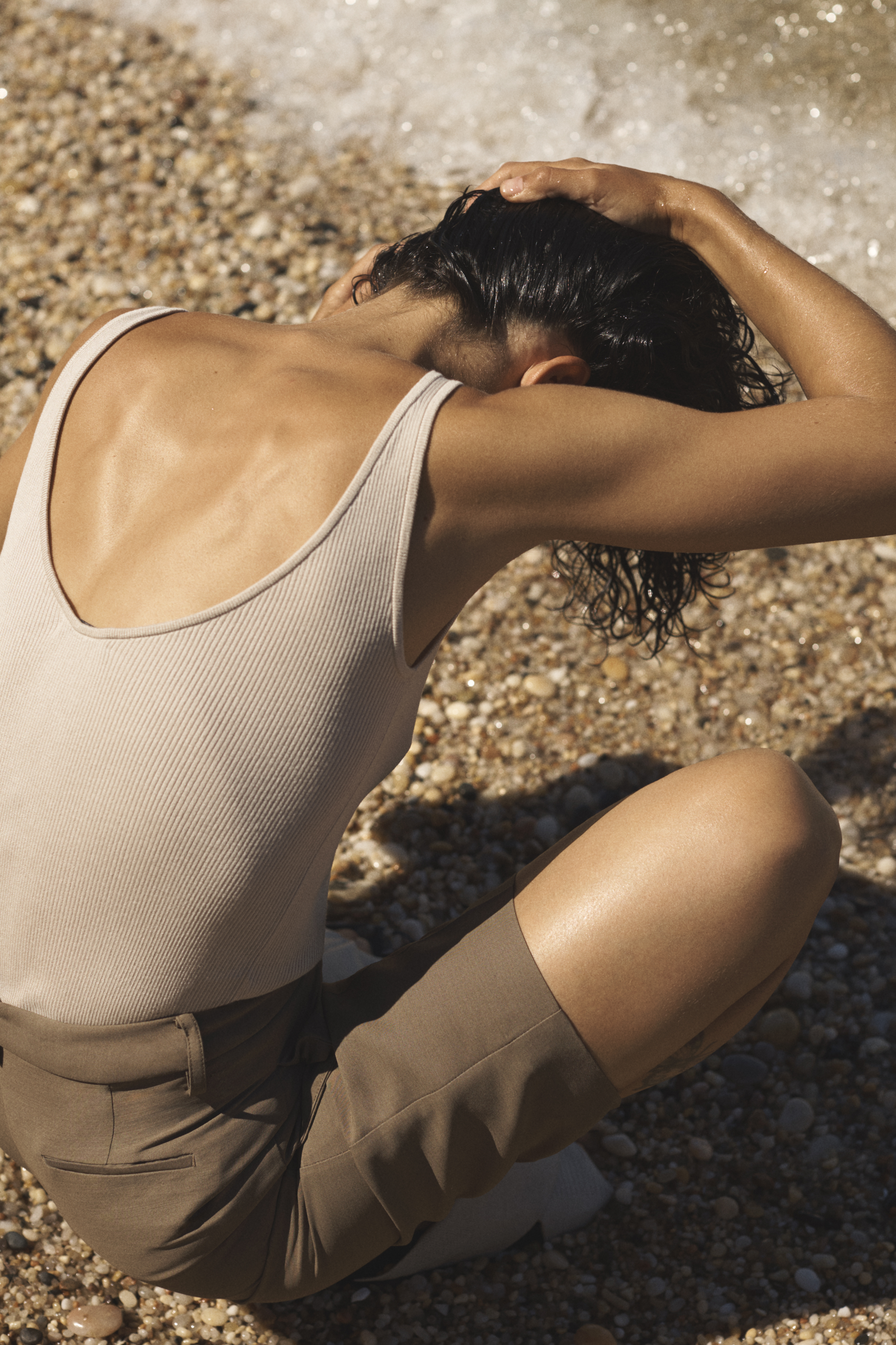 Ribbed Tank in Silk Knit - Taupe - by Zoe Gherter for Co