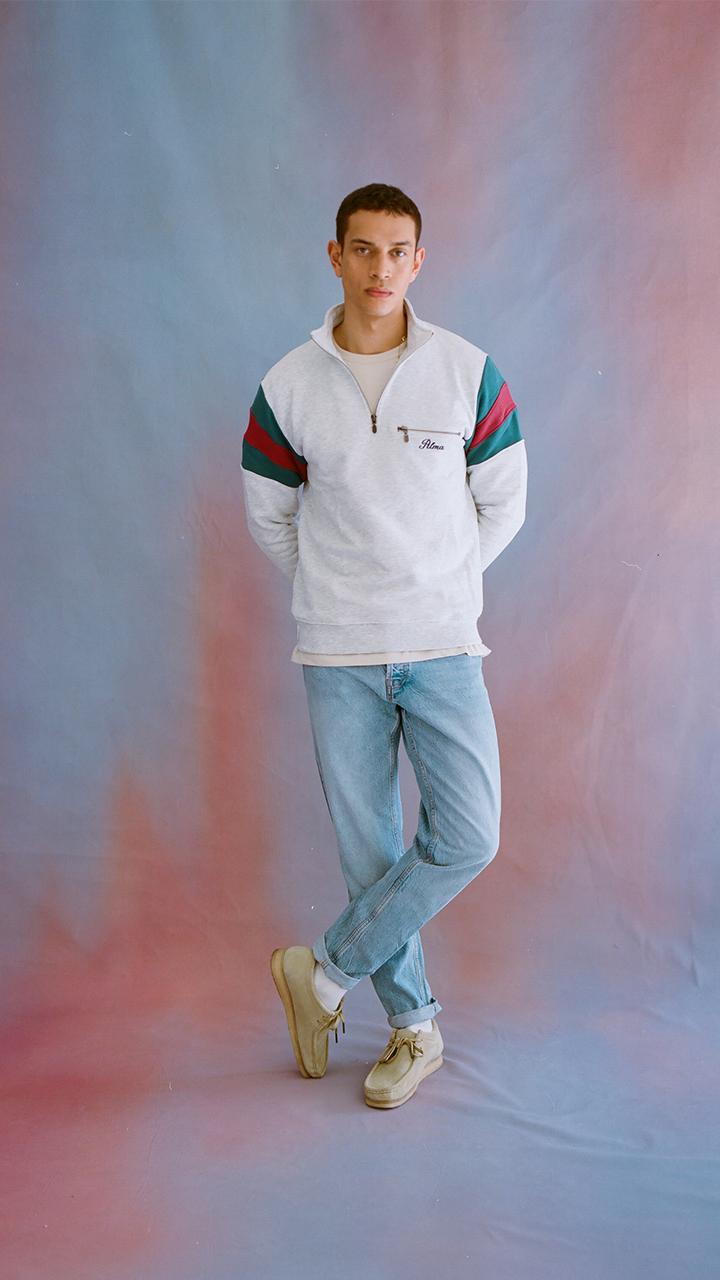 Grey Original Mock Neck Sweatshirt