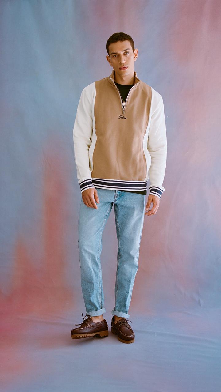 Cream Tavas Mock Neck Sweatshirt