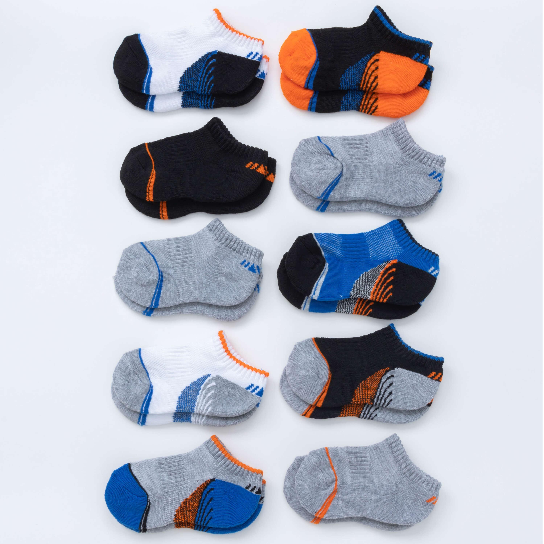 Boys' 10 Pack Half Cushion No-Show Socks