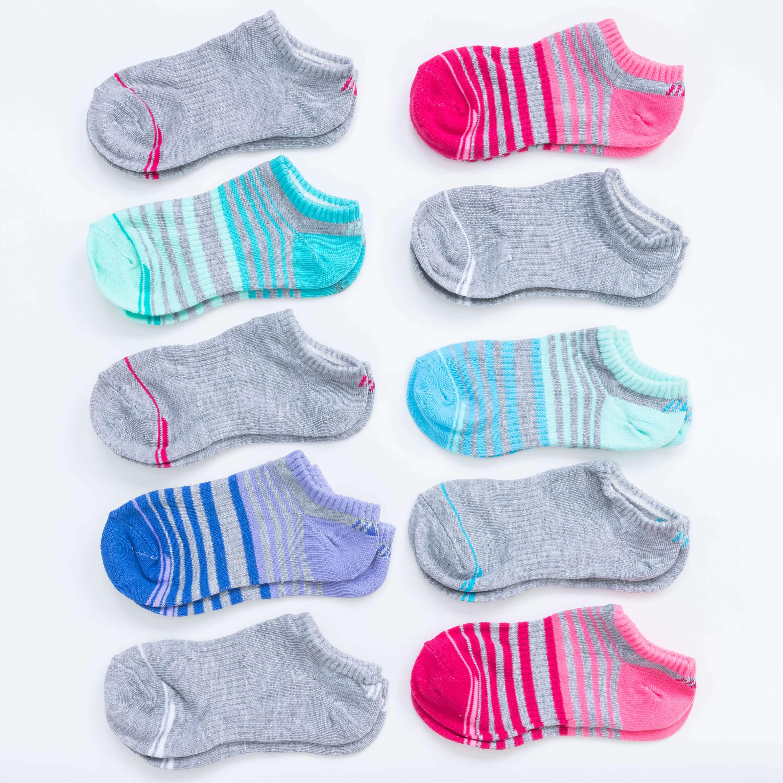 Girls' 10 Pack Flat Knit No-Show Socks