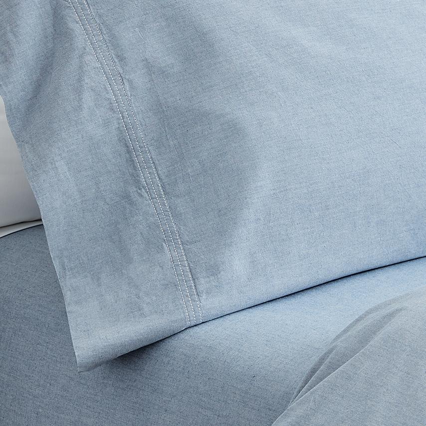Chambray Grey Triple Stitch Pillowcase Set