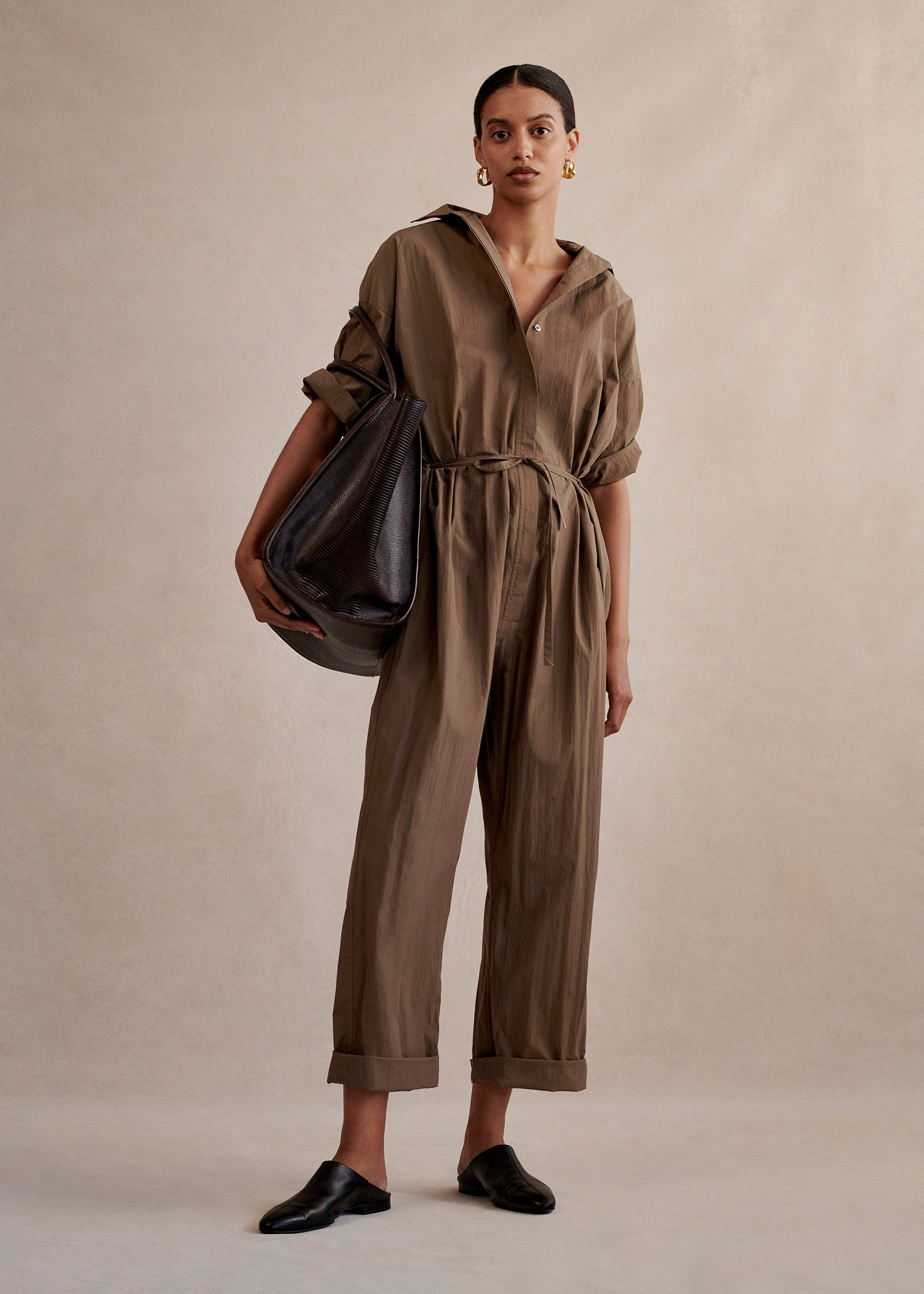 Drawstring Jumpsuit In Cotton - Taupe - by Zoe Gherter for Co