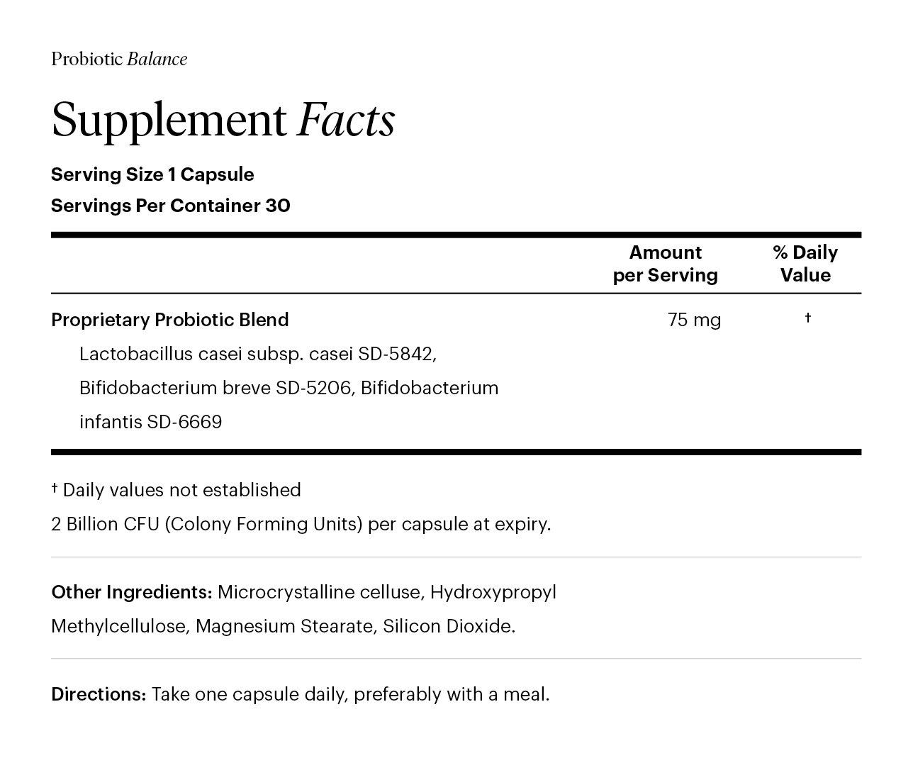 Probiotic Supplement Facts
