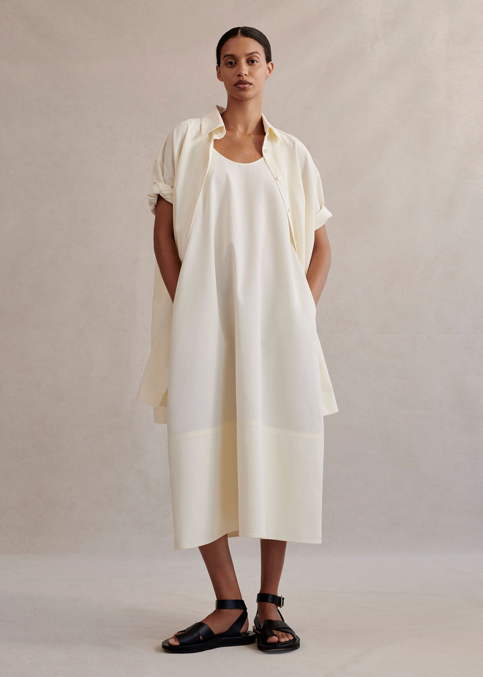 Sleeveless Bubble Dress In Cotton Crepe - Ivory - by Zoe Gherter for Co