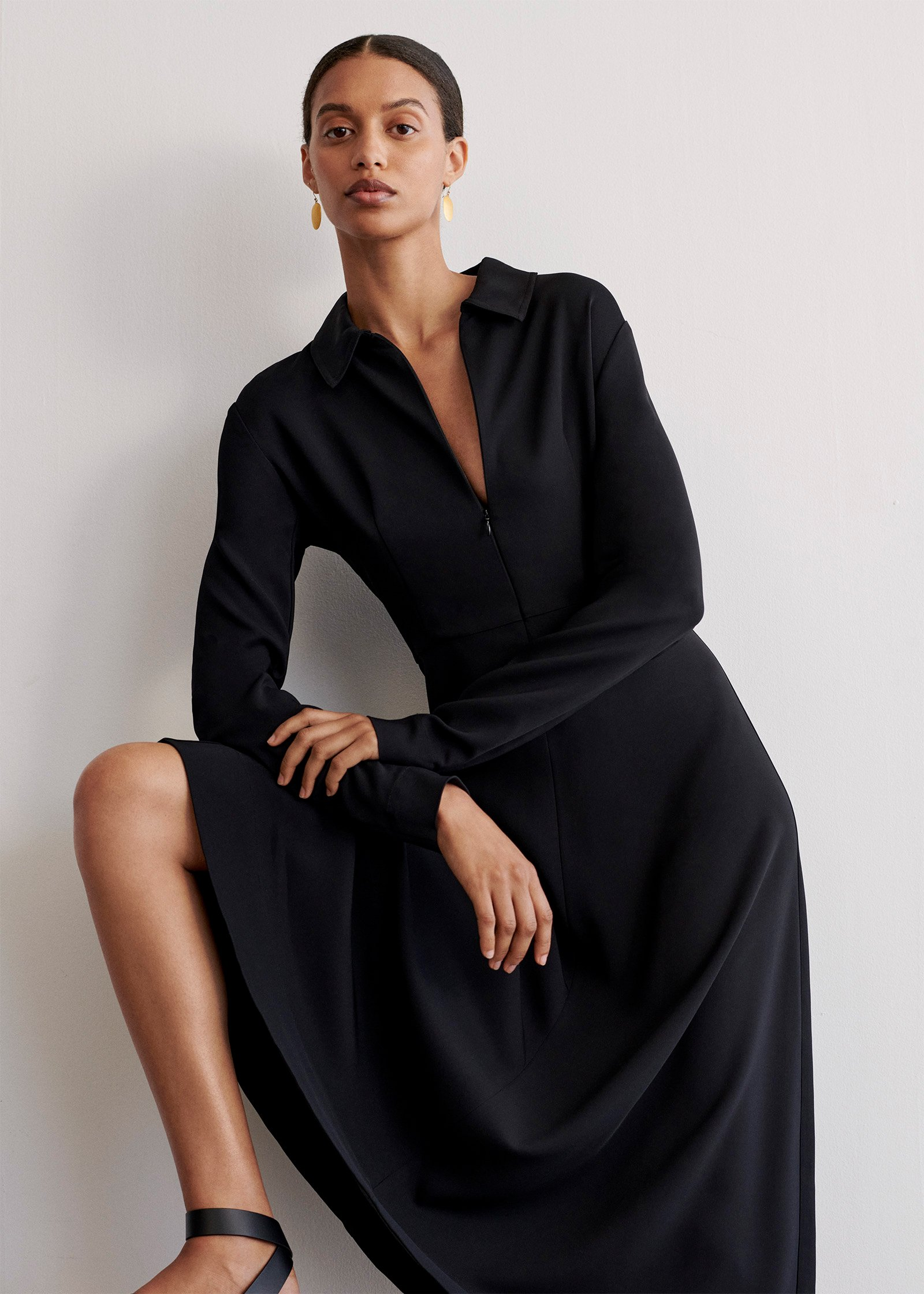 Long Sleeve Shirt Dress In Stretch Viscose - Black - by Zoe Gherter for Co