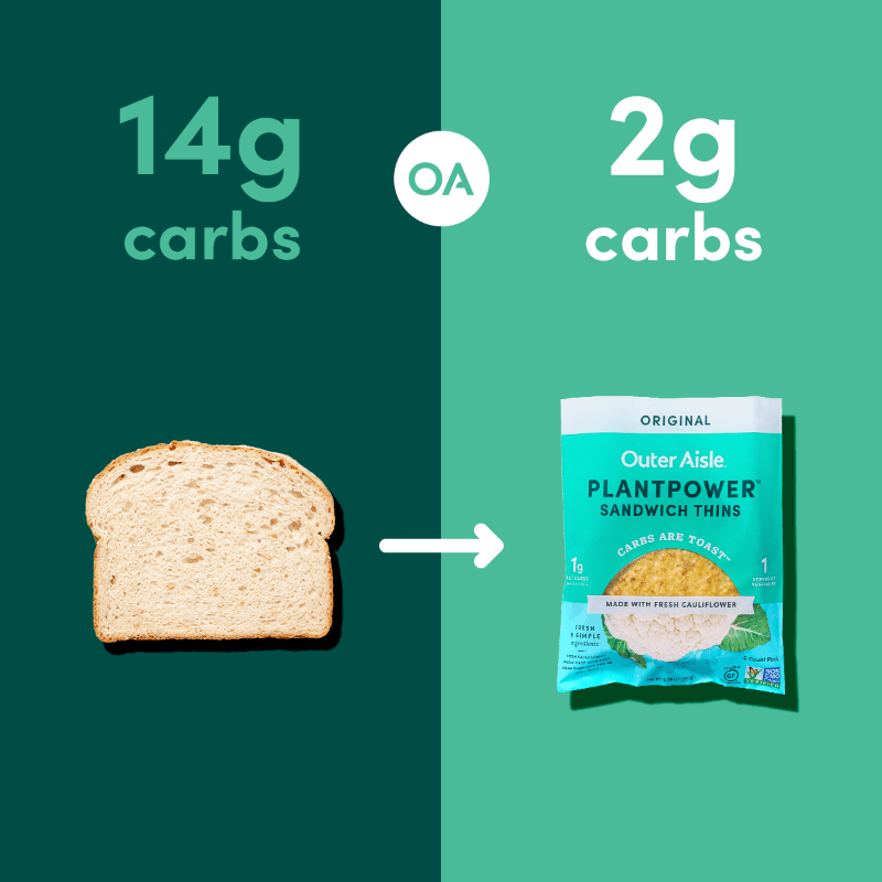 outer aisle cauliflower sandwich thins in packaging - original flavor