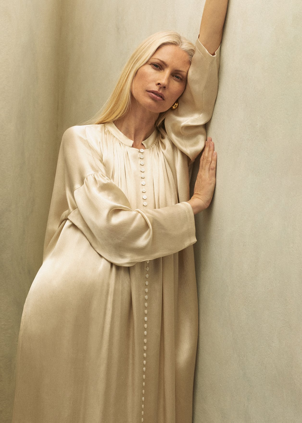 Ruched Neckline Dress In Viscose - Ivory - by Zoe Gherter for Co