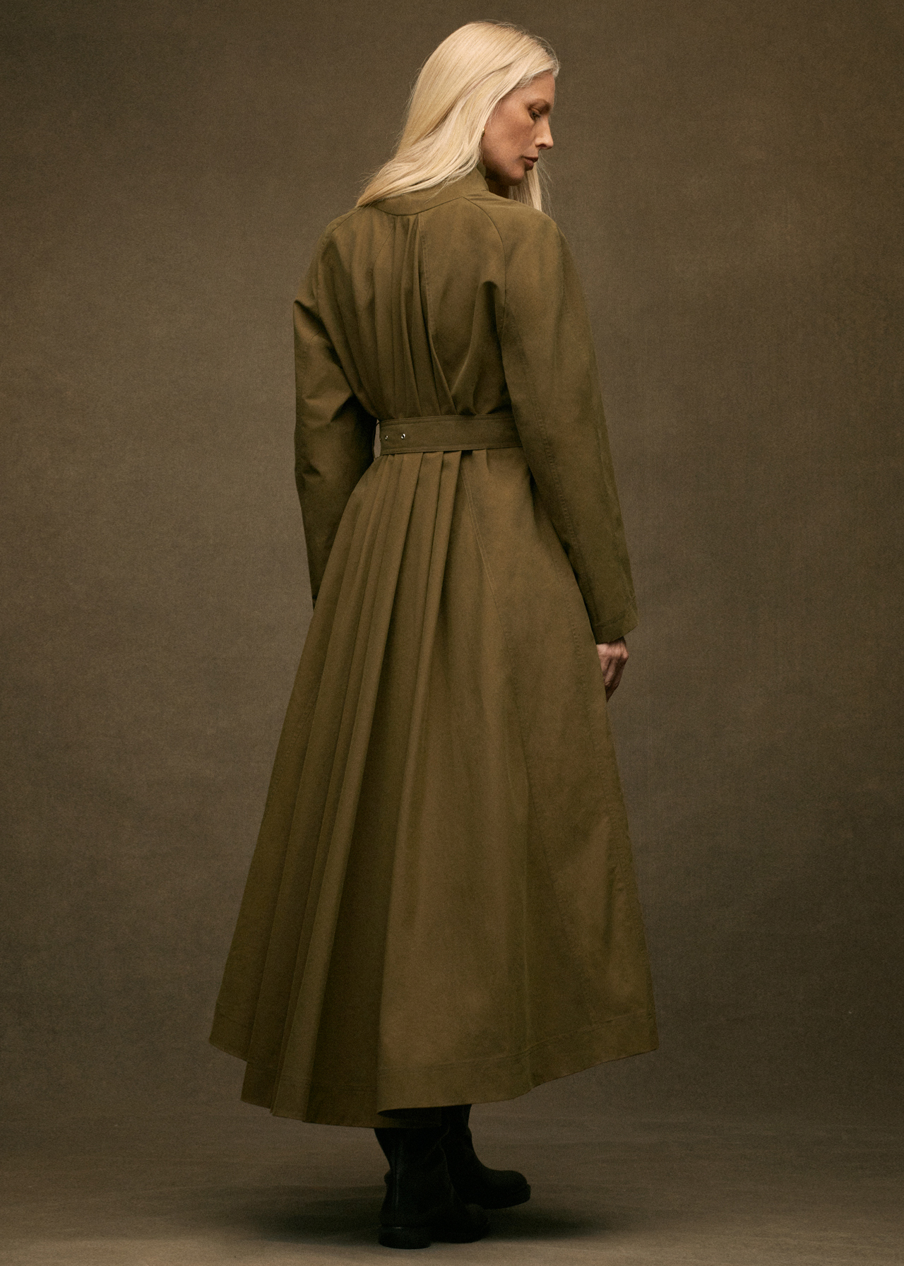 Belted Long Coat - Olive - by Zoe Gherter for Co