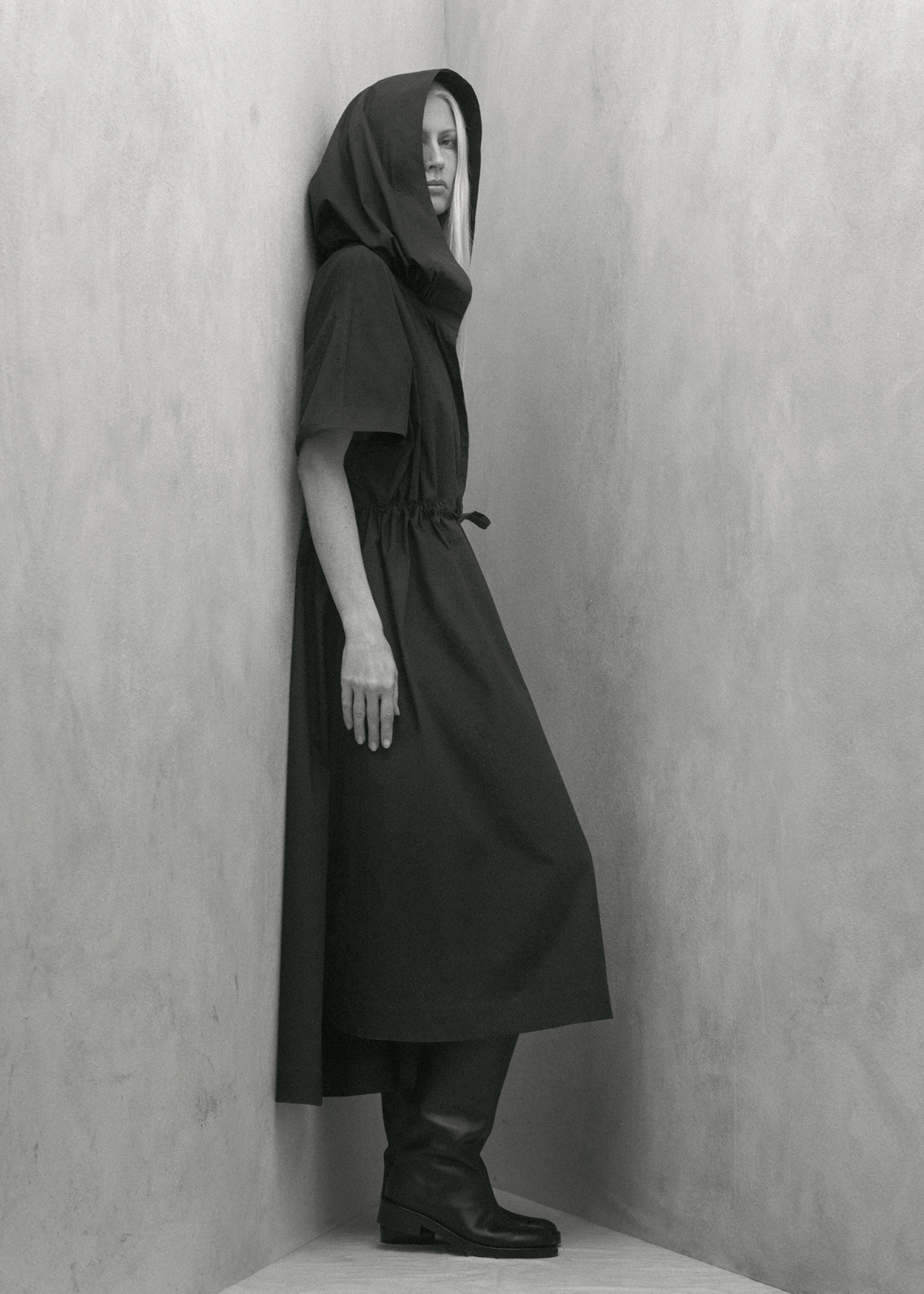 Drawstring Waist Dress With Hood - Navy - CO