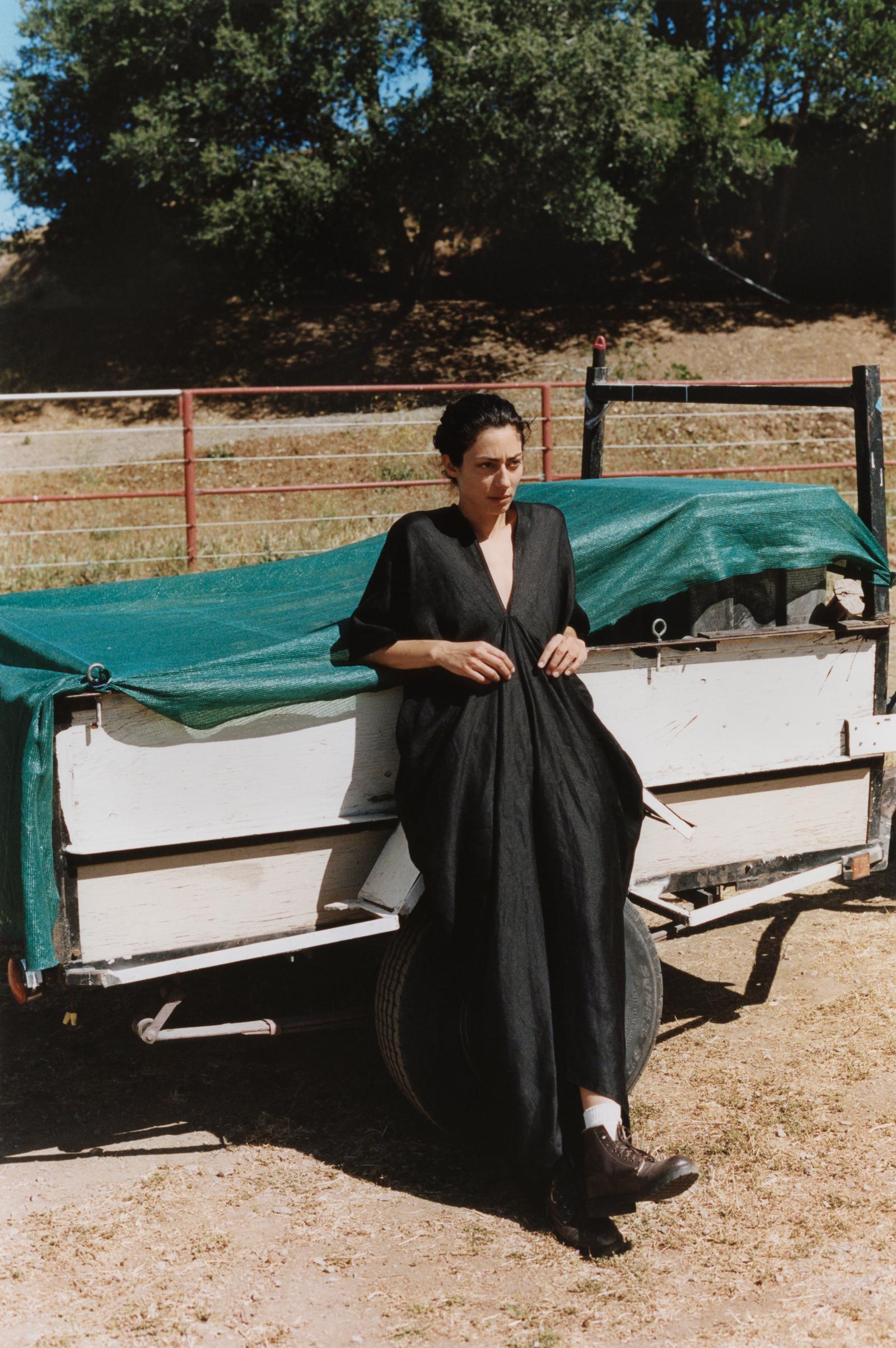 Oversized V-Neck Dress In Organic Linen - Black - by Zoe Gherter for Co