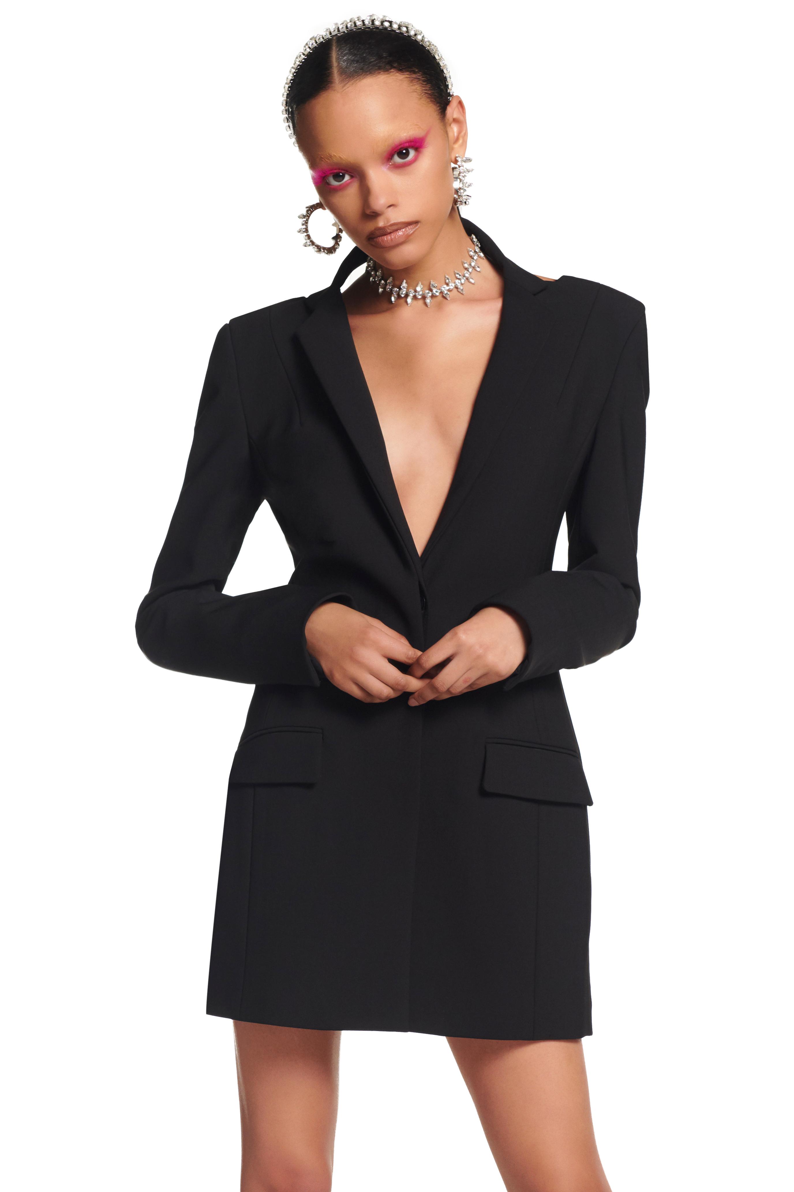 Backless Draped Crystal Blazer Dress