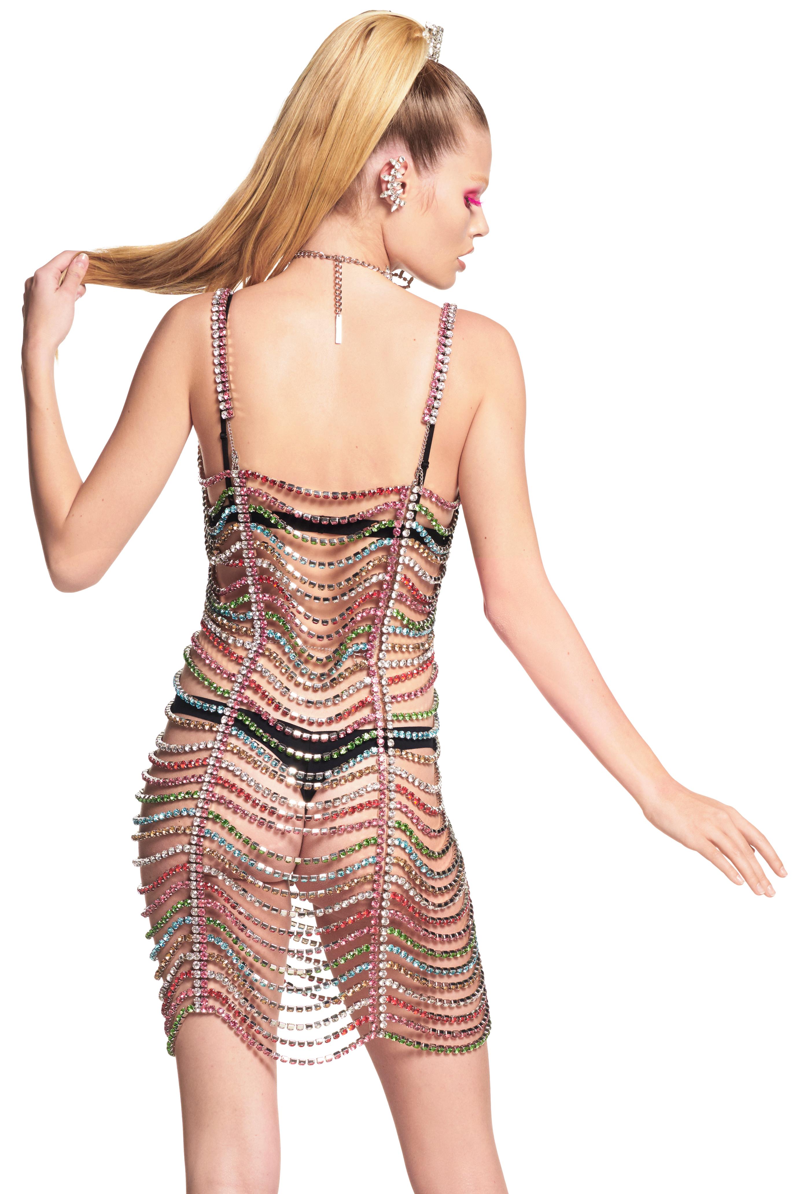 Draped Crystal Mini Dress