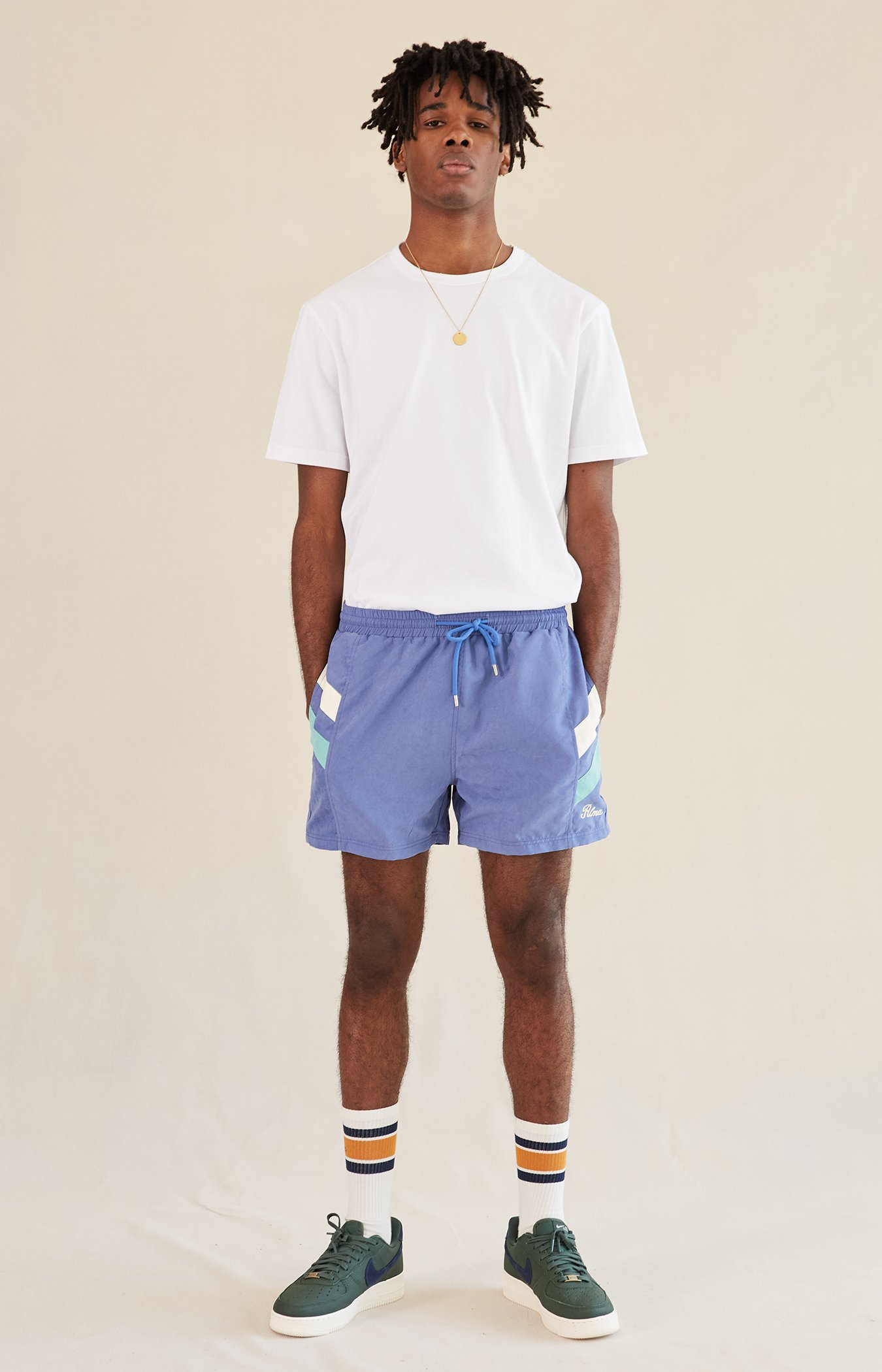 Green Pastel Twin Stripe Shorts