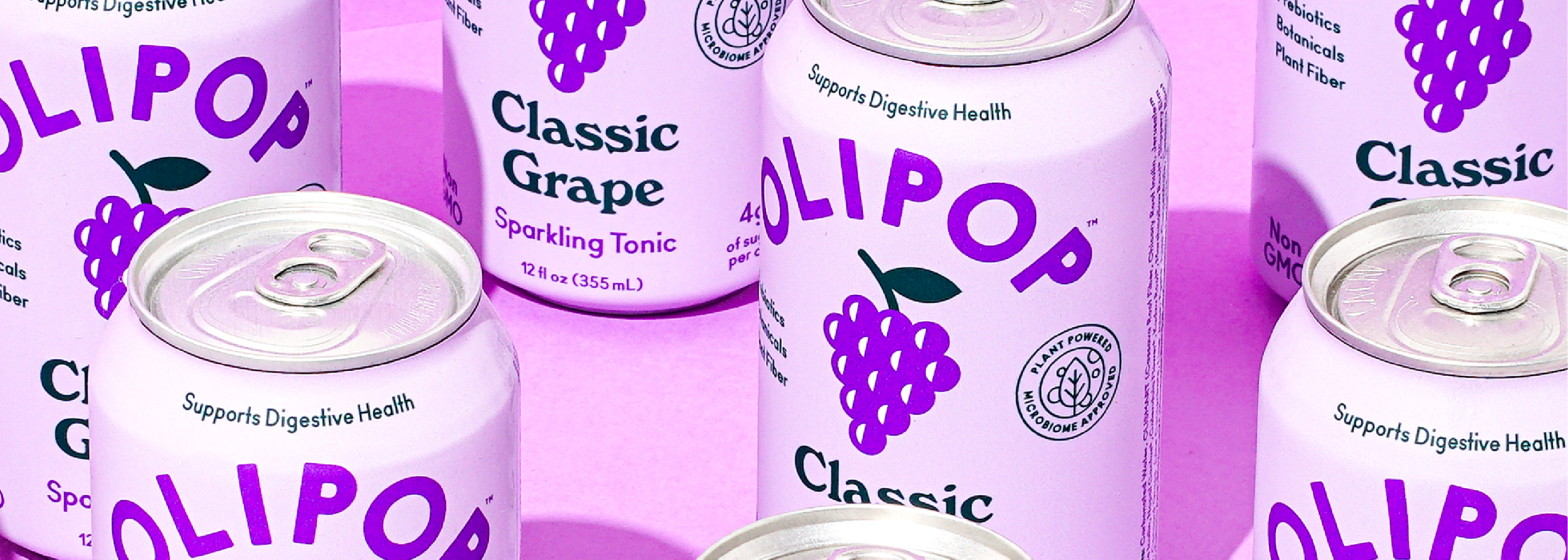 Cans of OLIPOP Classic Grape