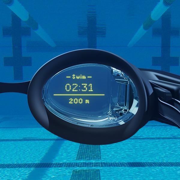 in-goggle view of FORM smart swim goggles
