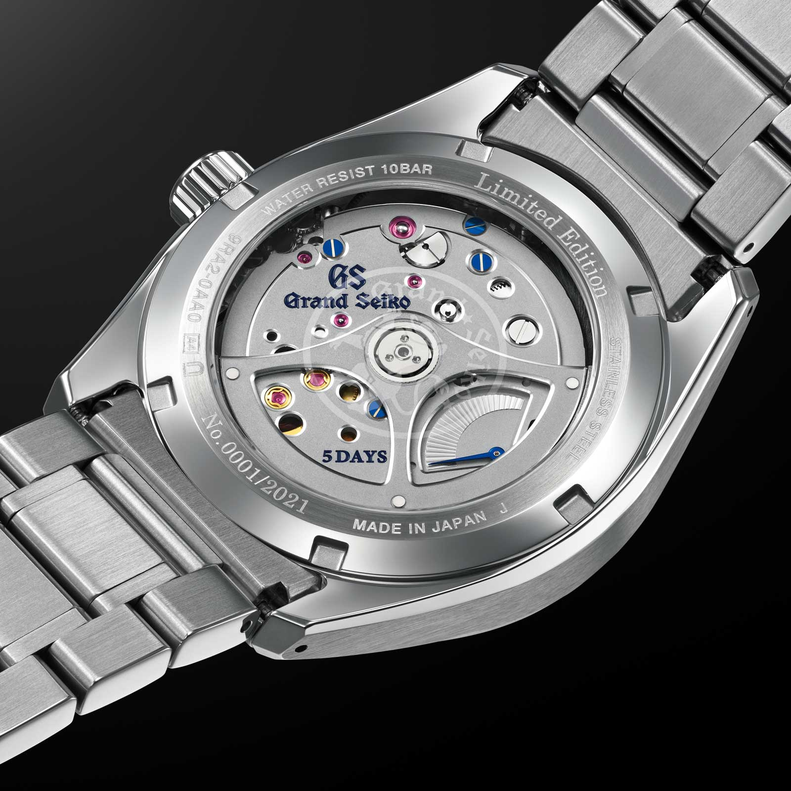 Grand Seiko Spring Drive 5 Days 9RA2 Caliber with power reserve indicator on the movement side of the watch.