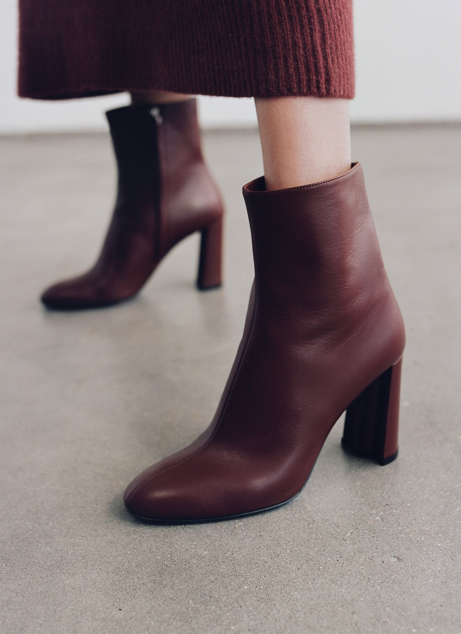 Classic Boot In Smooth Leather - Burgundy - CO