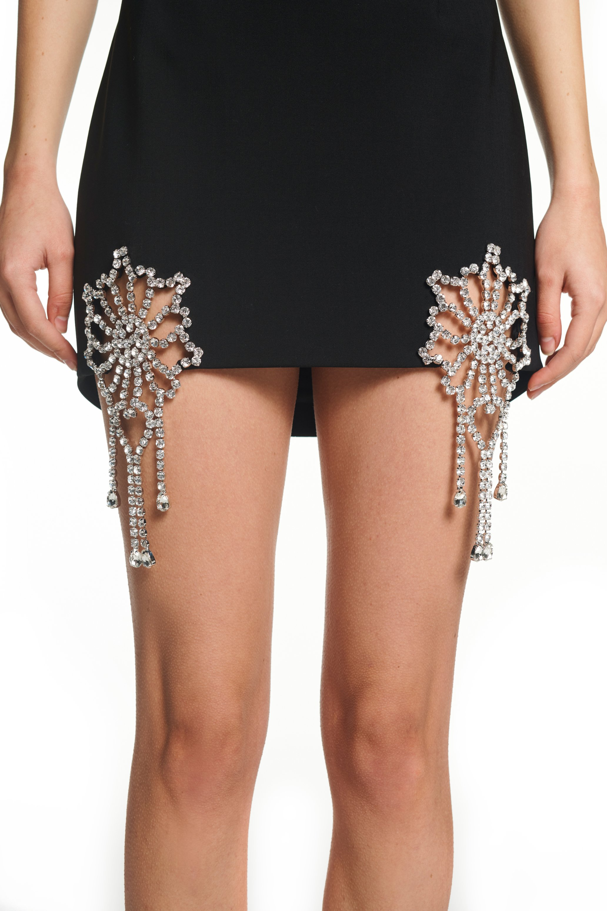Crystal Crochet Cutout Miniskirt