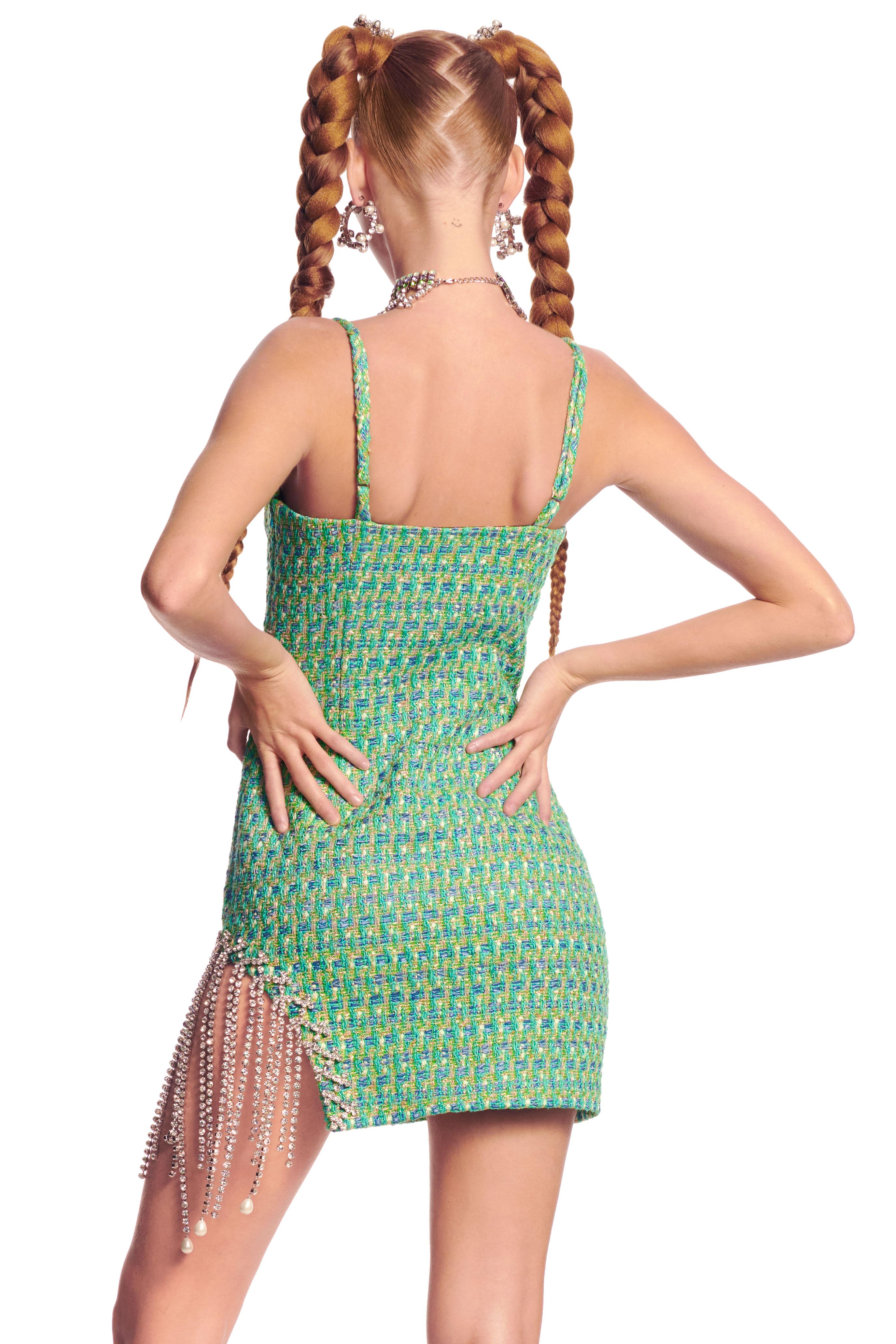 Pearl Drop Fringe Mini Dress