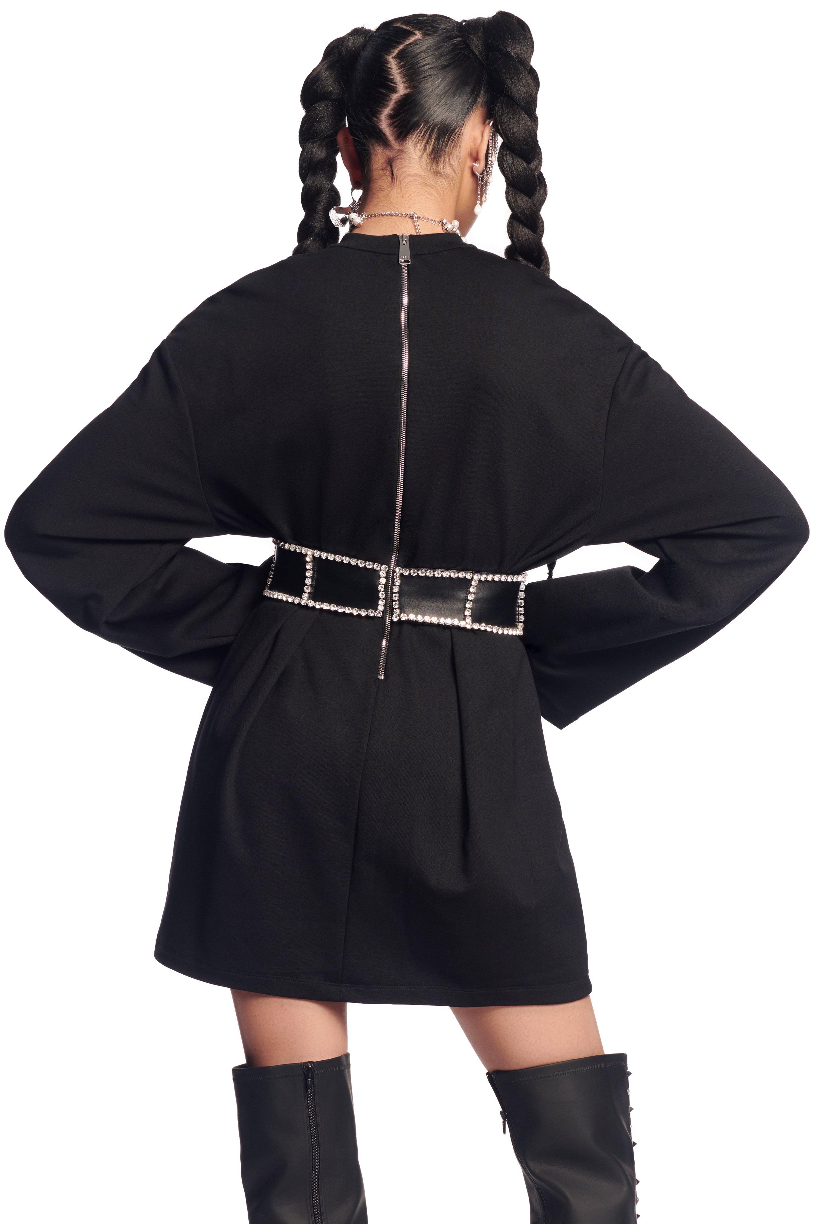Long Sleeve Crystal Corseted T-shirt Dress