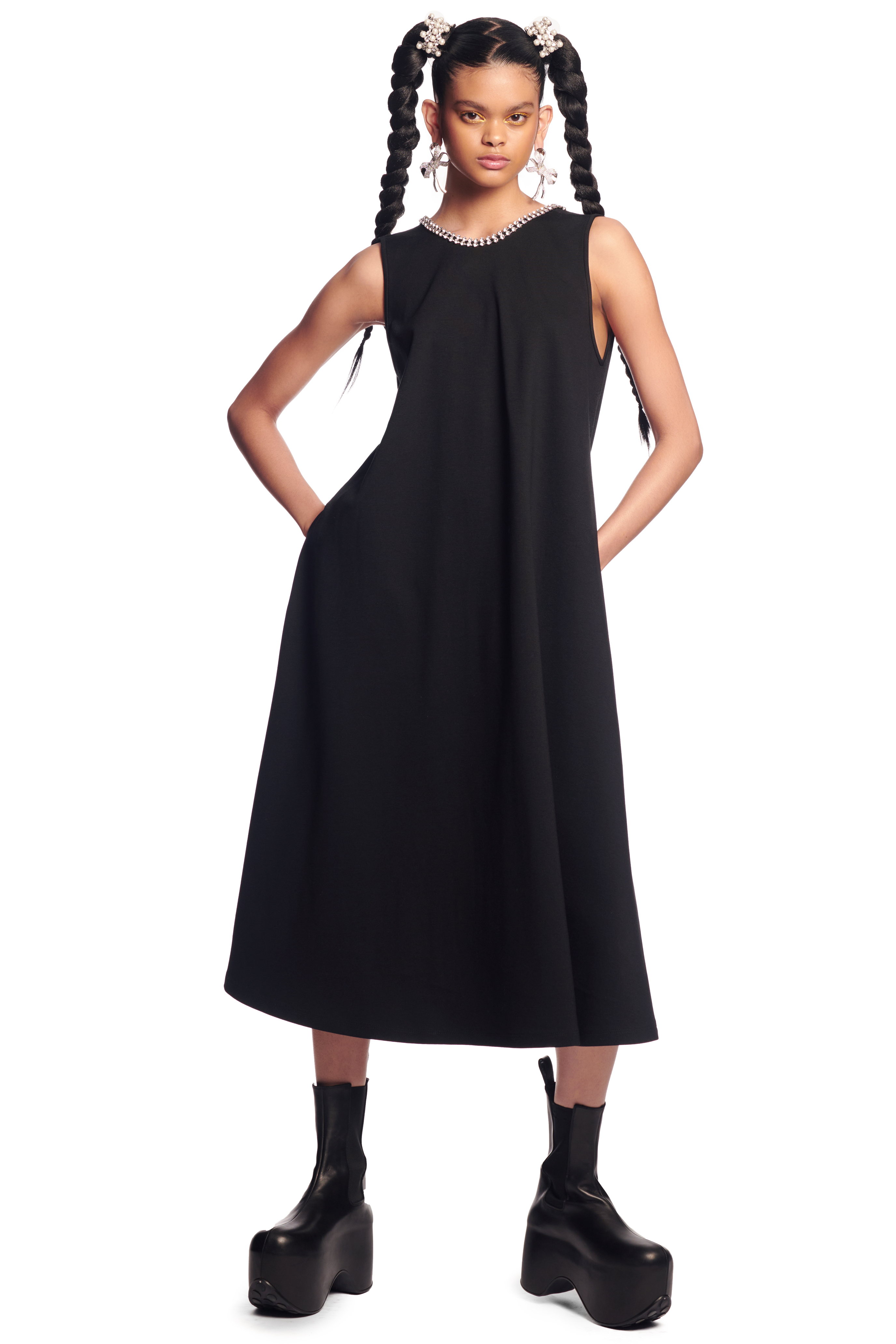 Crystal Bow Open Back Midi Dress