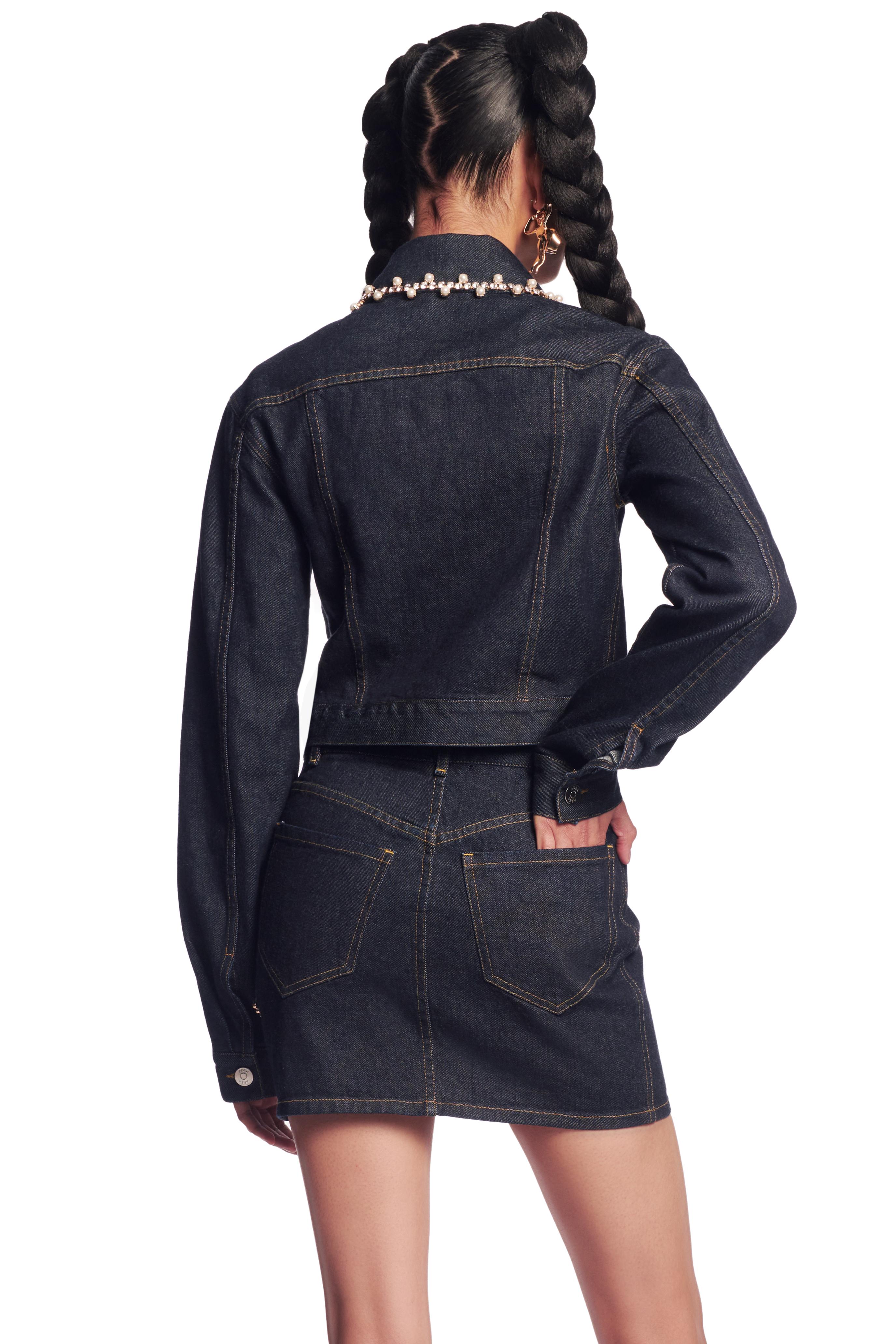 Crystal Pearl Trim Denim Jacket