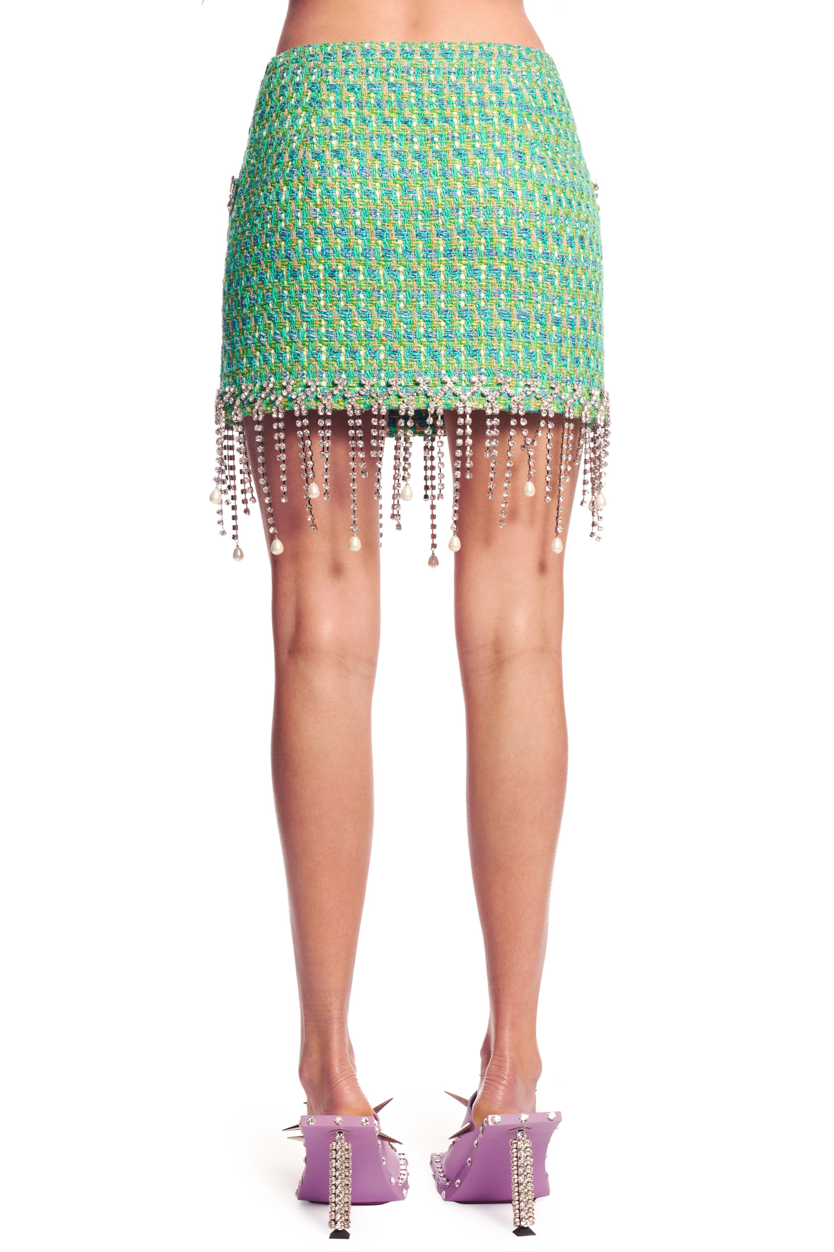 Mini Skirt with Pearl Drop Fringe