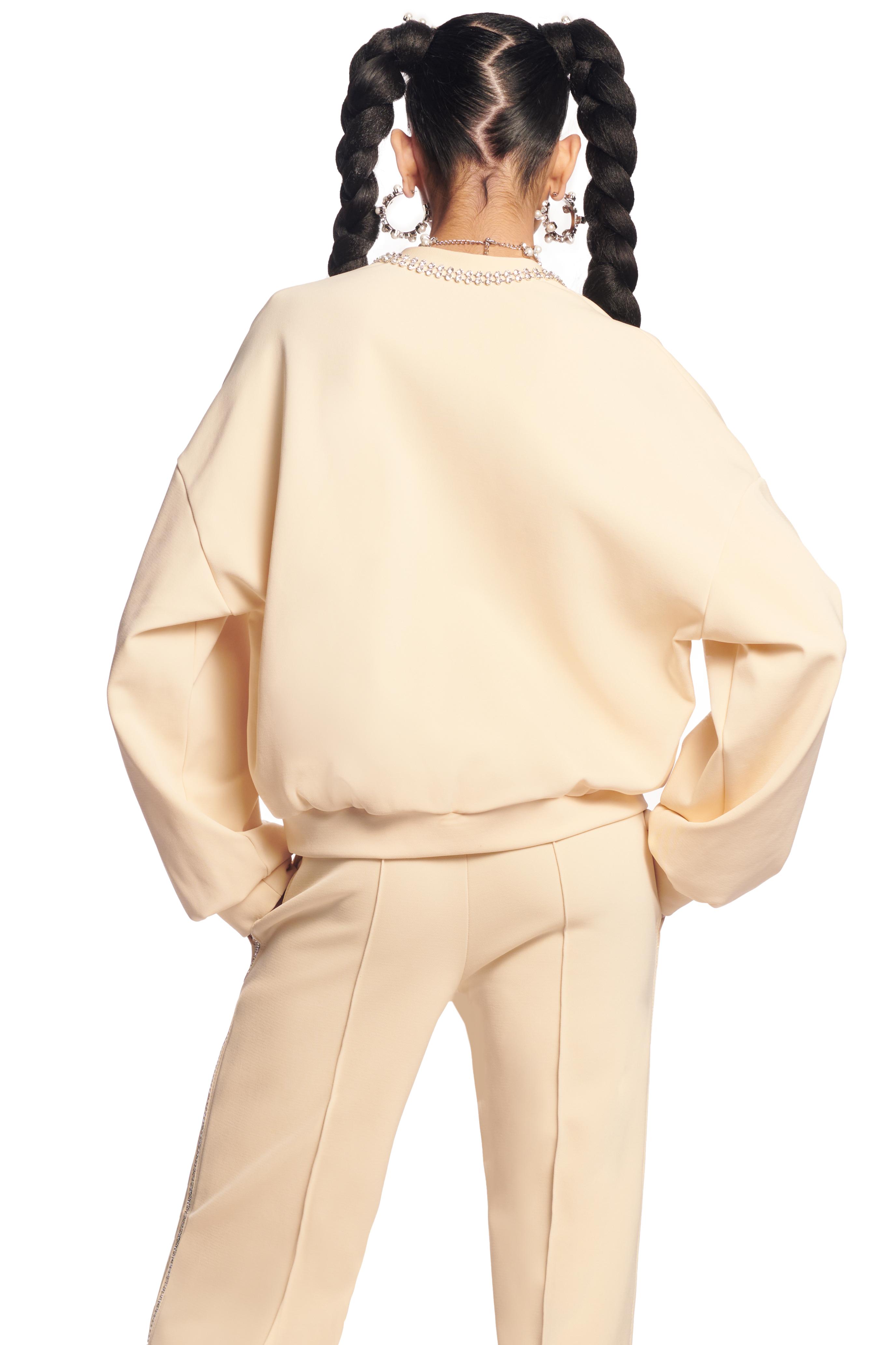 V-Neck Crystal Bow Pullover