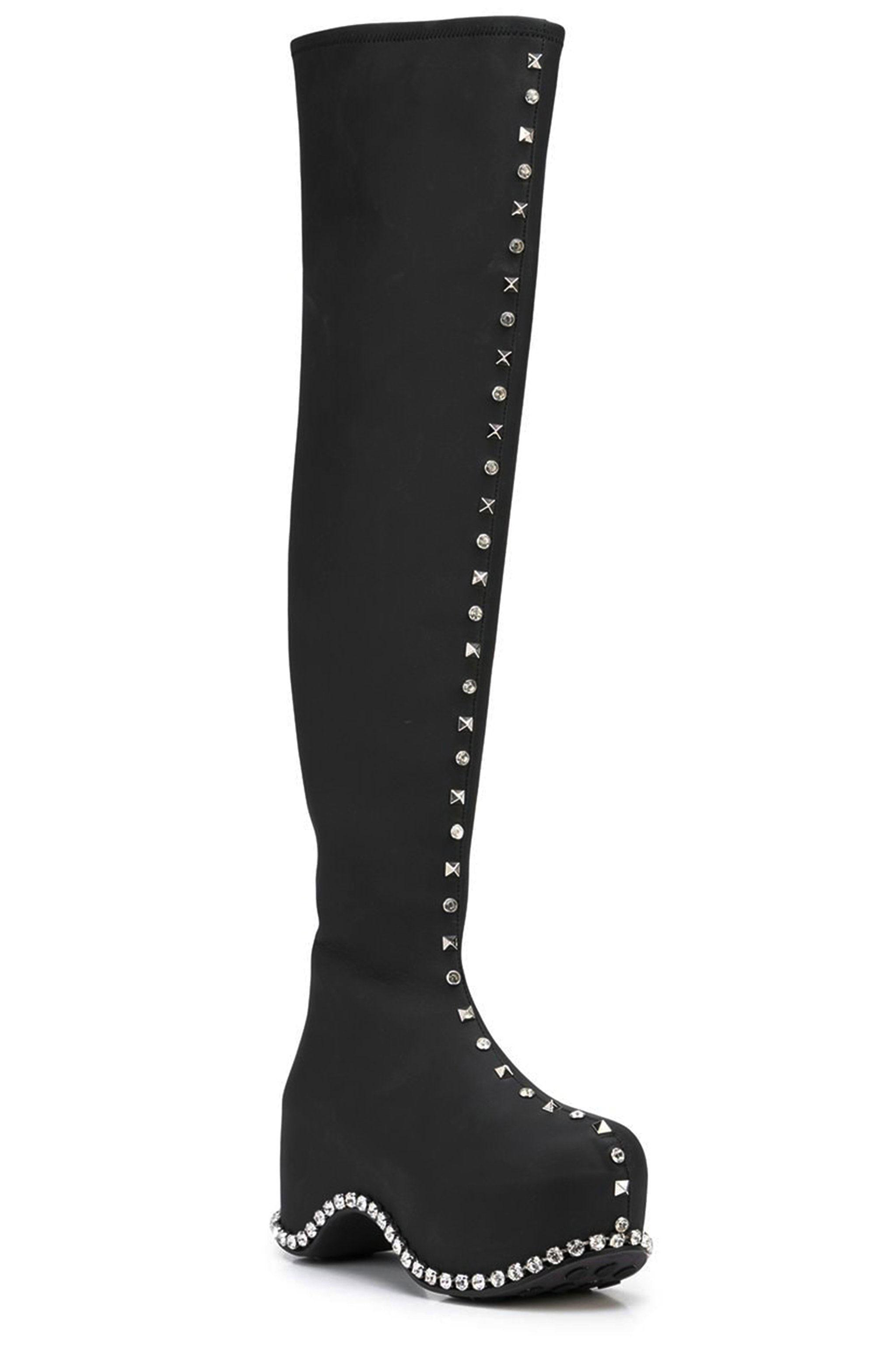 Crystal Trimmed Thigh-High Platform Boot