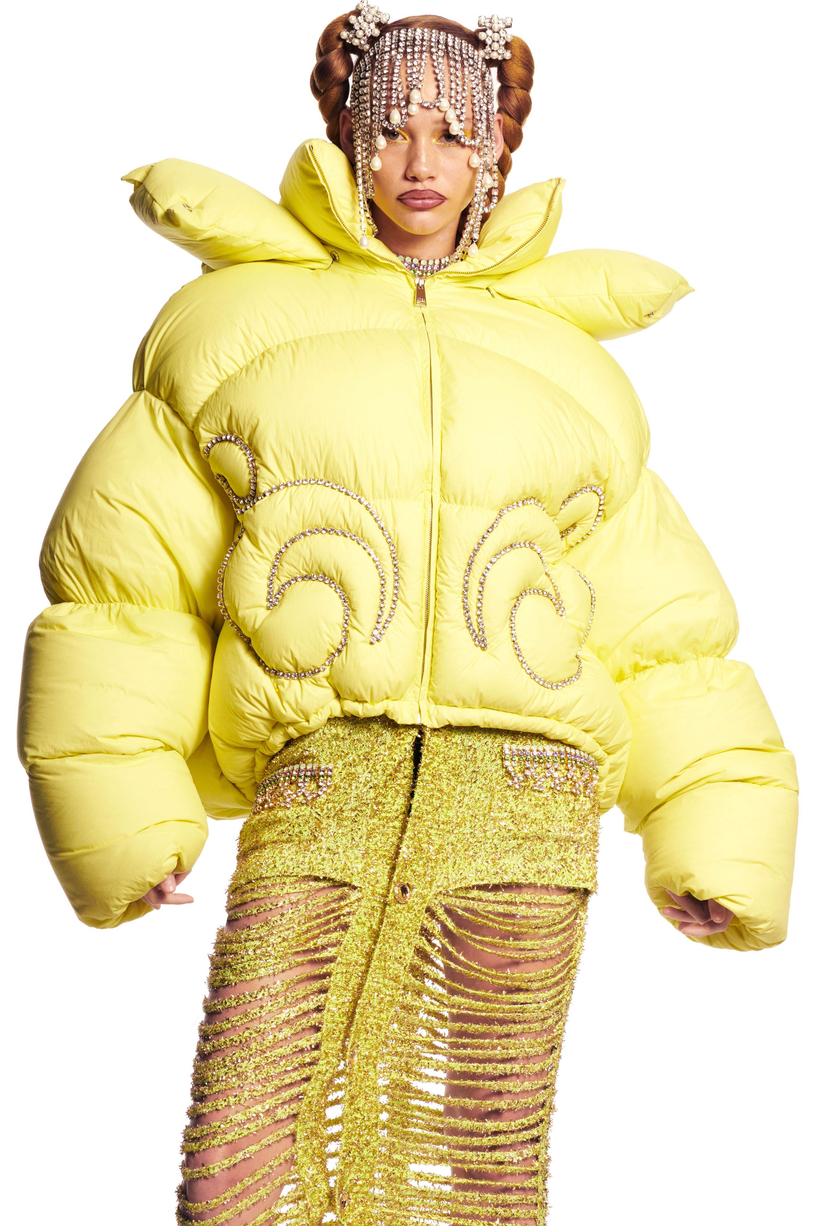 AREA x Dingyun Zhang Crystal Baroque Puffer Jacket