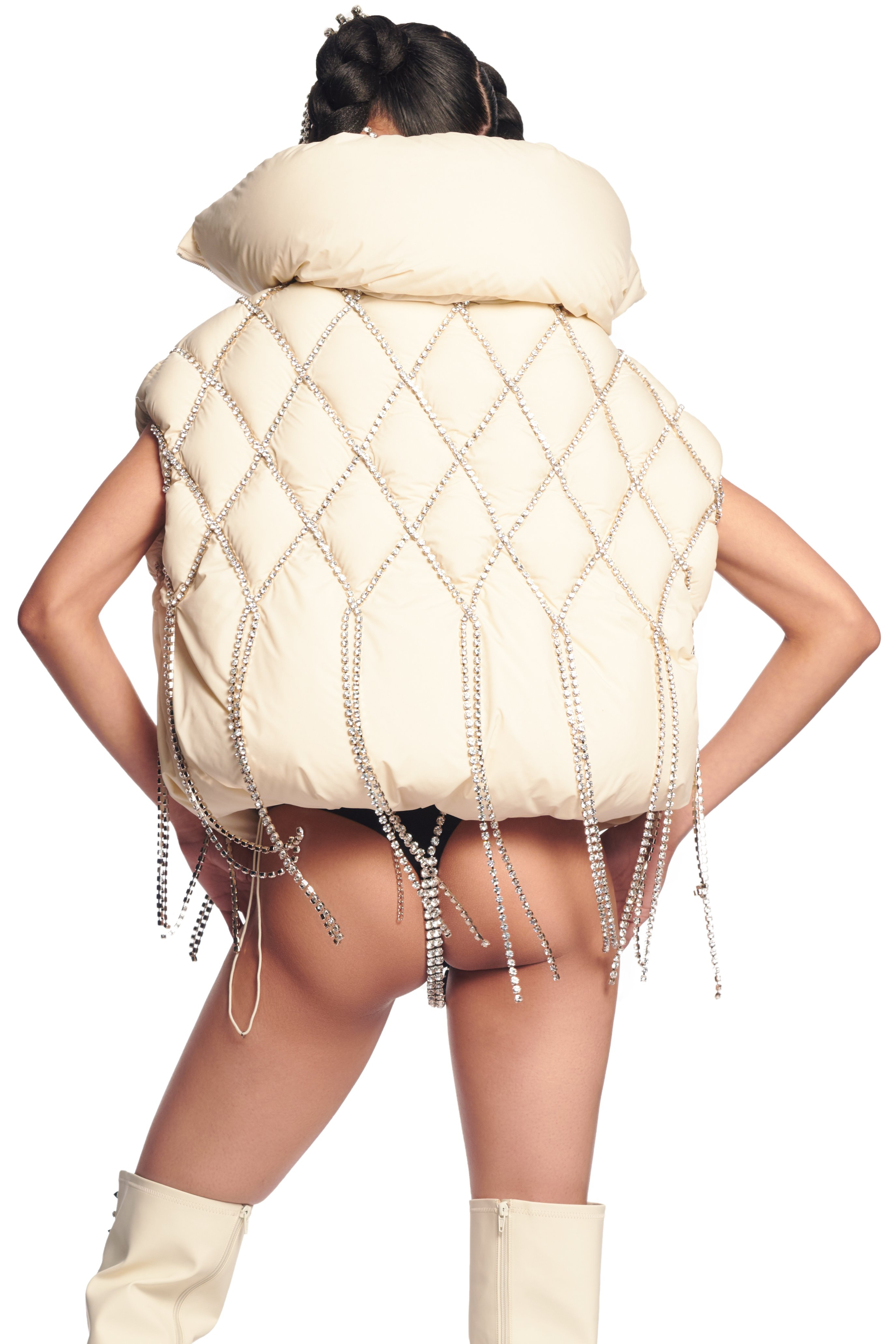 AREA x Dingyun Zhang Crystal Quilted Puffer Vest