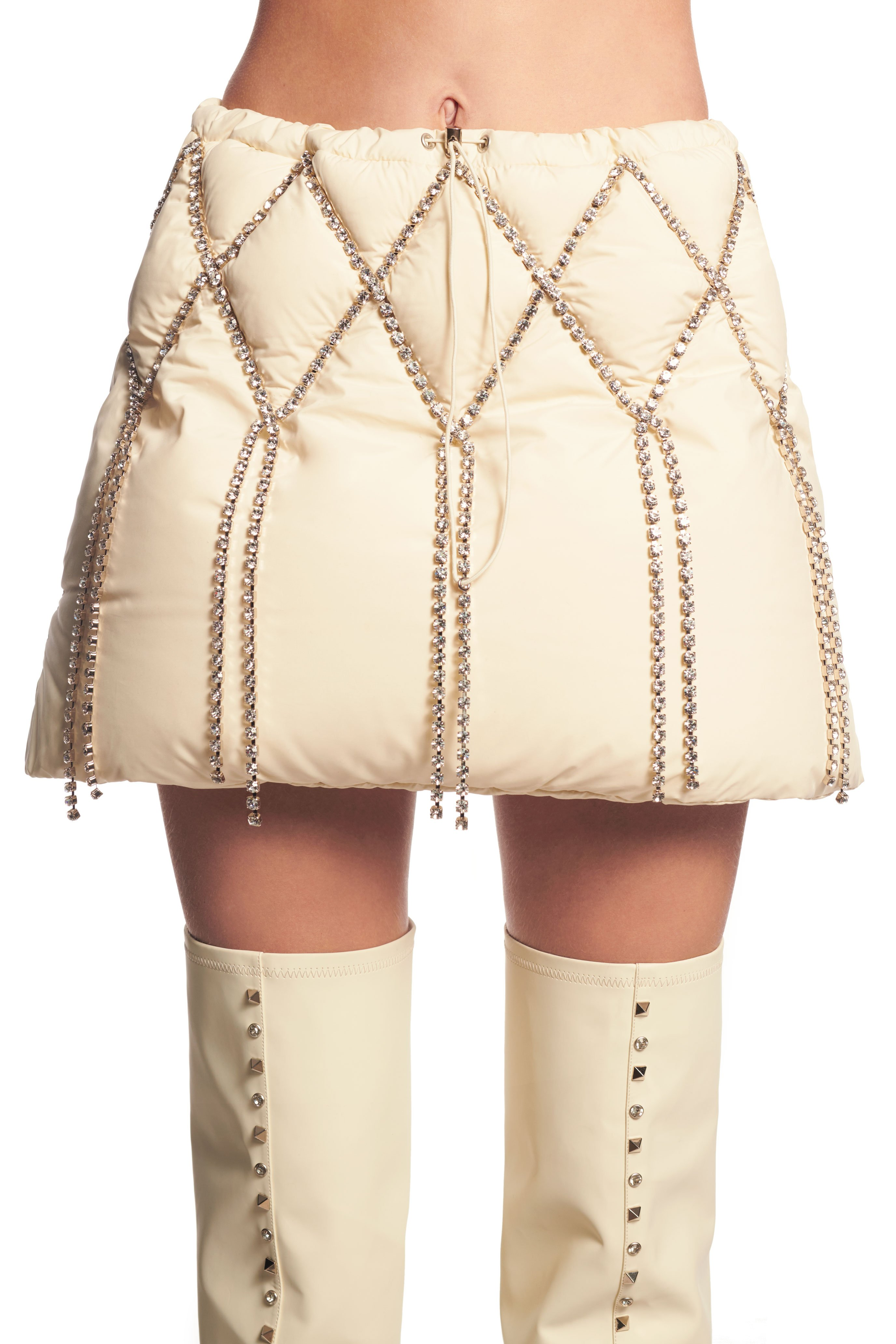 AREA x Dingyun Zhang Crystal Quilted Puffer Mini Skirt