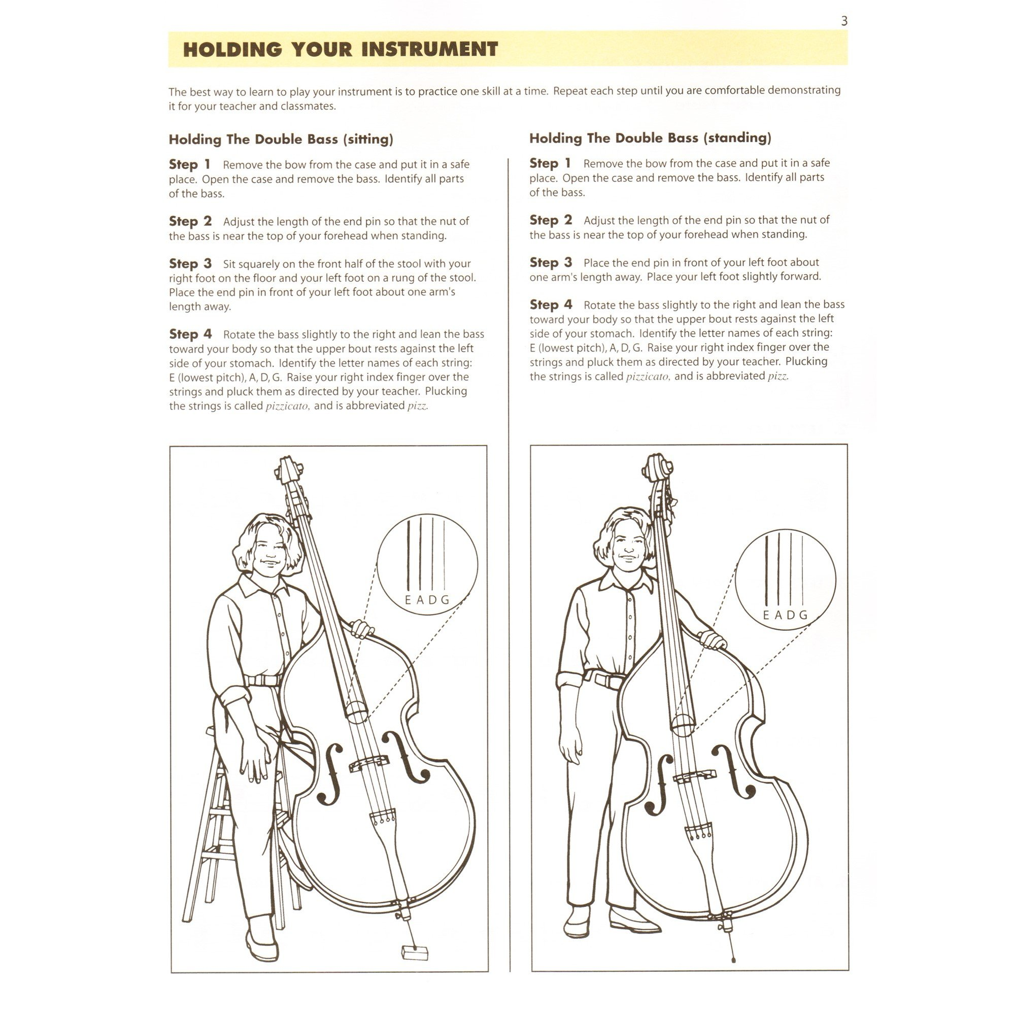 Essential elements for Strings Double Bass Book 1 in action