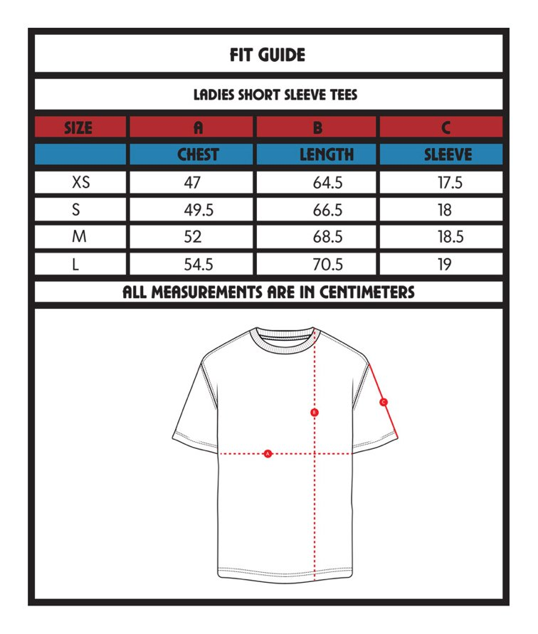 Tee size guide