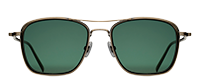 Matsuda M3065 sunglass in color antique gold with olive colored acetate insert
