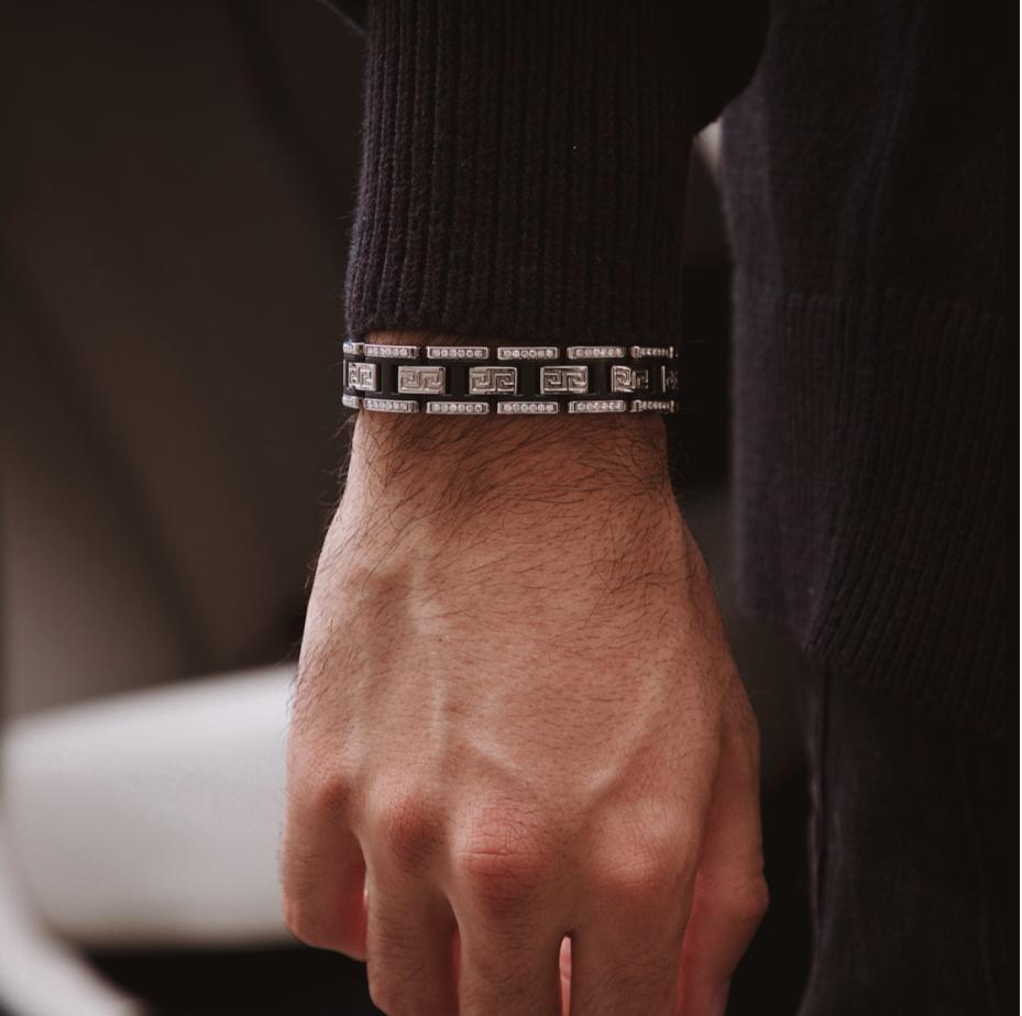 Man wearing 13MM Greek Diamond bracelet