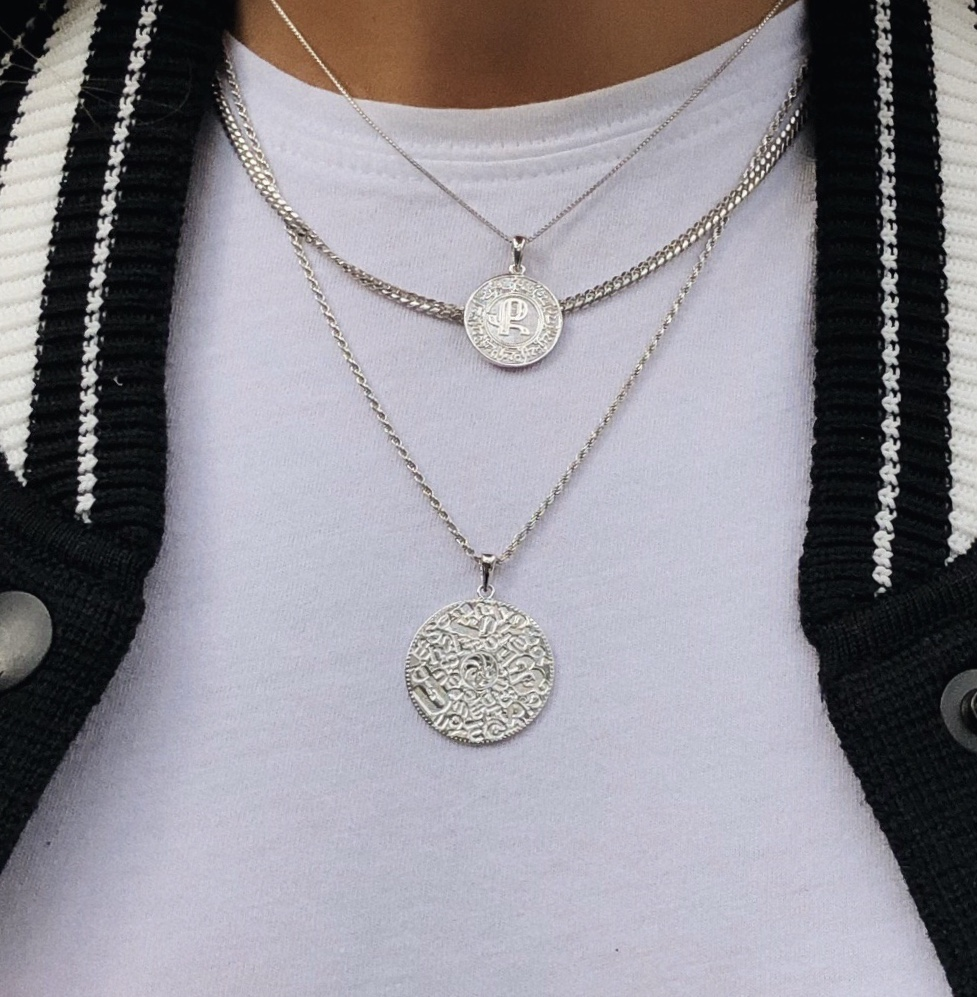 Close up of woman wearing Silver Armenian Initial Coin Necklace - IceLink