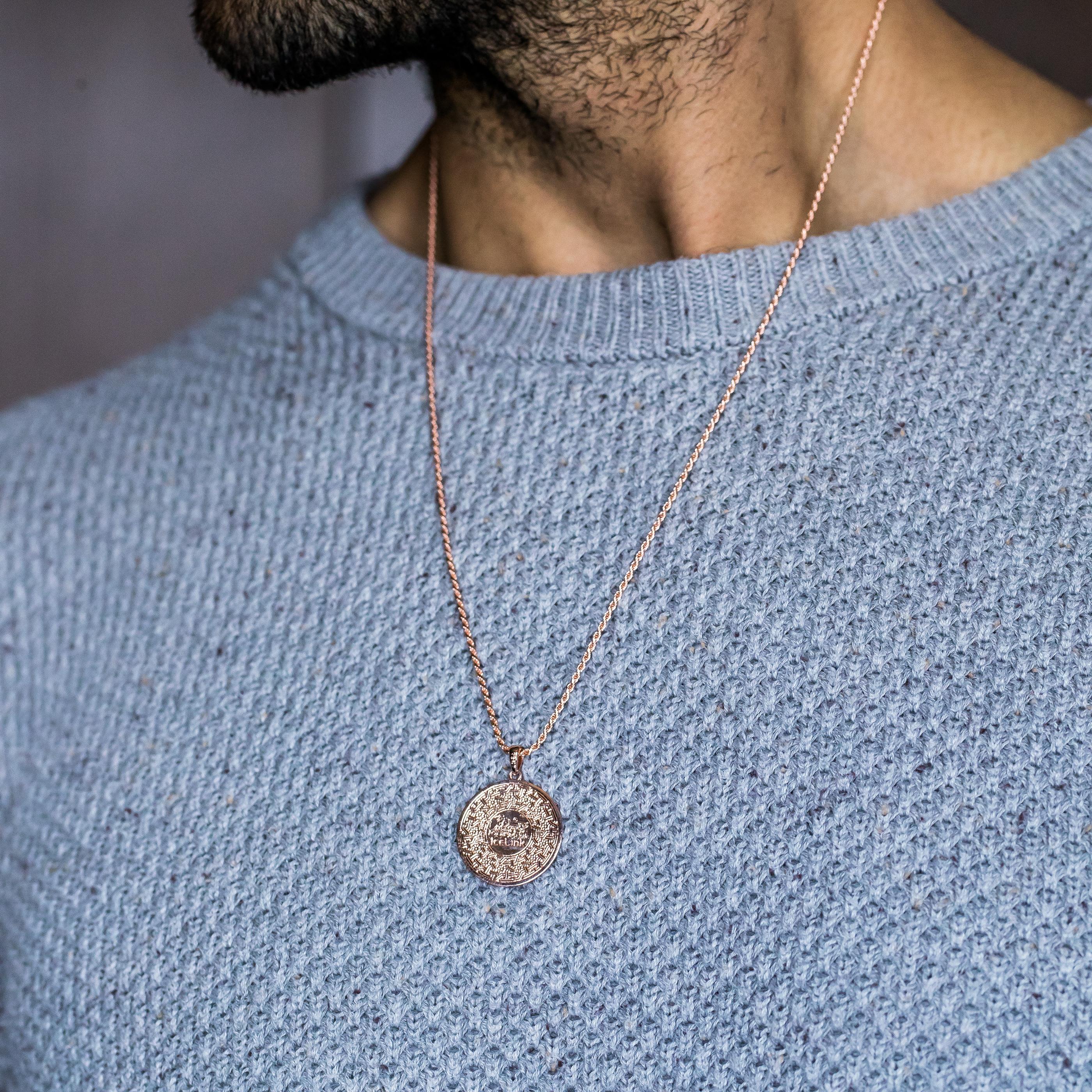 Man wearing Rose Gold Armenian Alphabet Necklace