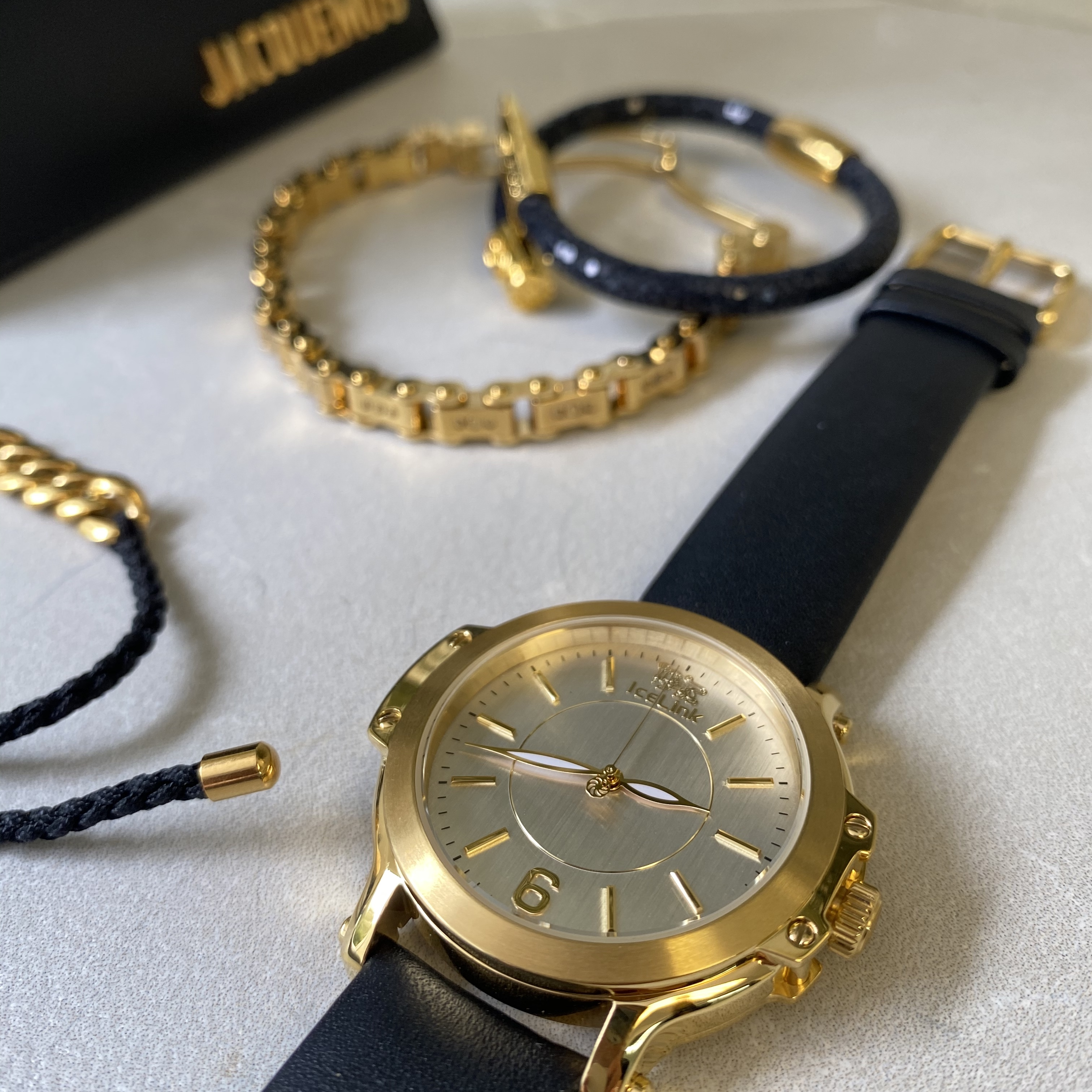 Gold & White Watch with black band