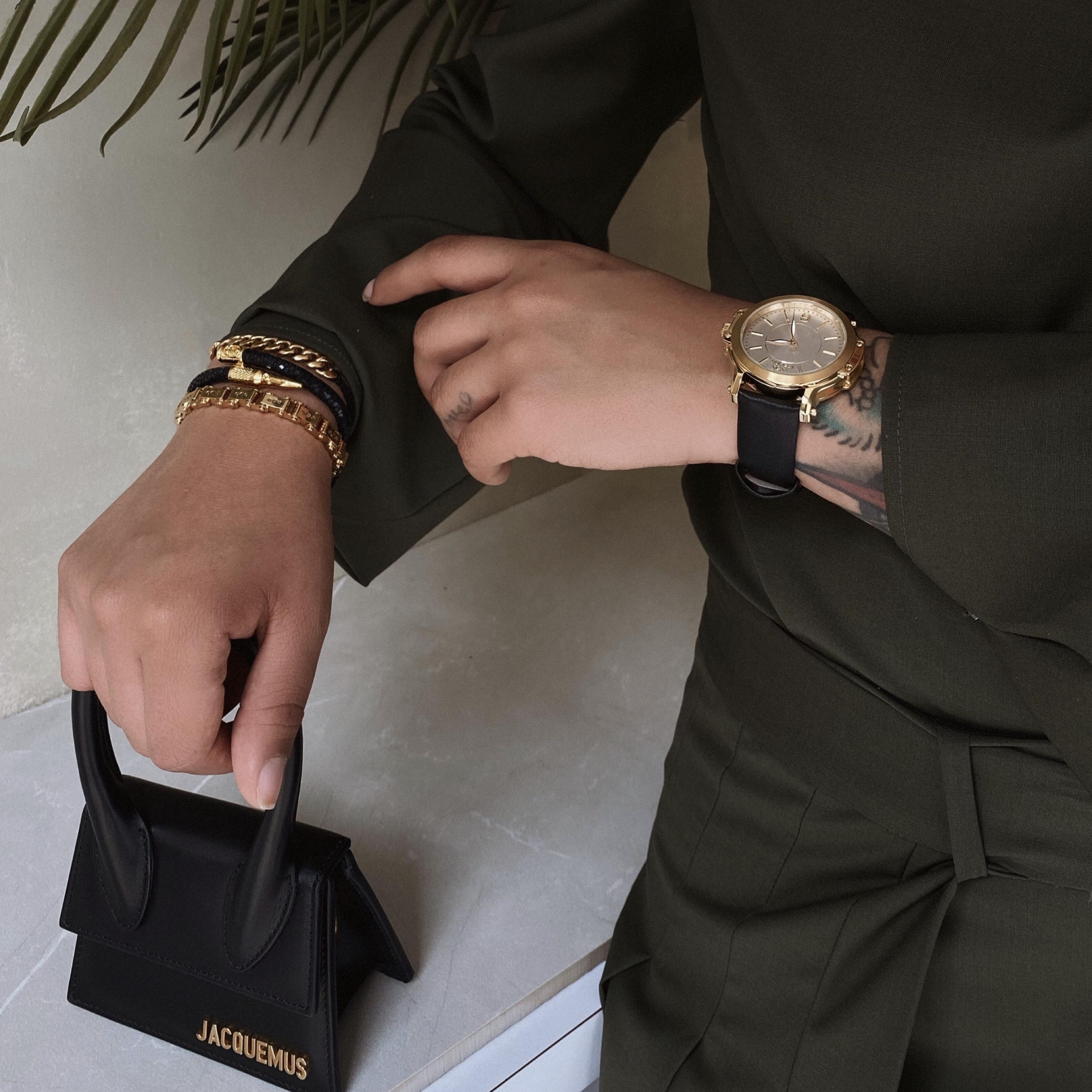 Gold & White Watch