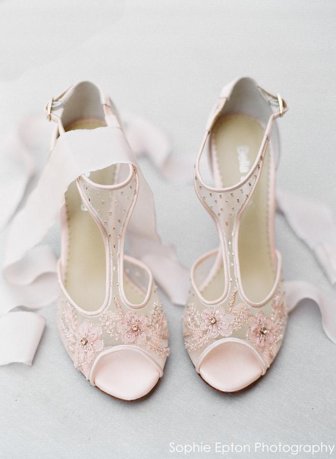 17a26c96743a Paloma Floral Beaded Blush Wedding Shoes