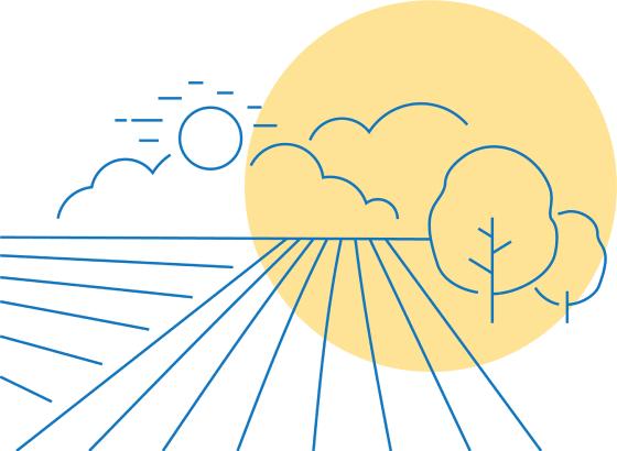 Disegno stilizzato sole, campi e alberi