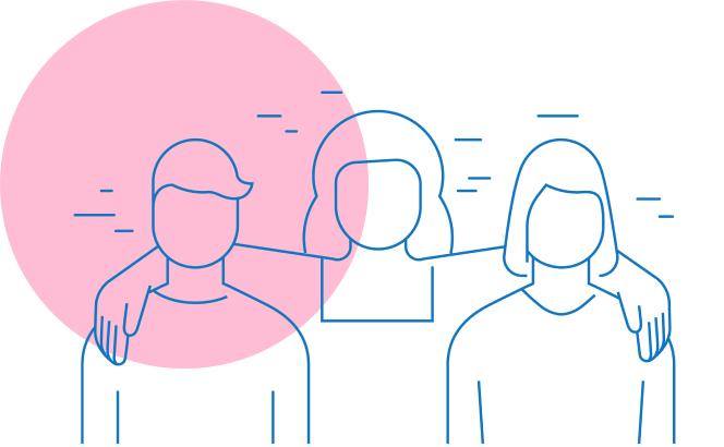 Disegno stilizzato persone che socializzano
