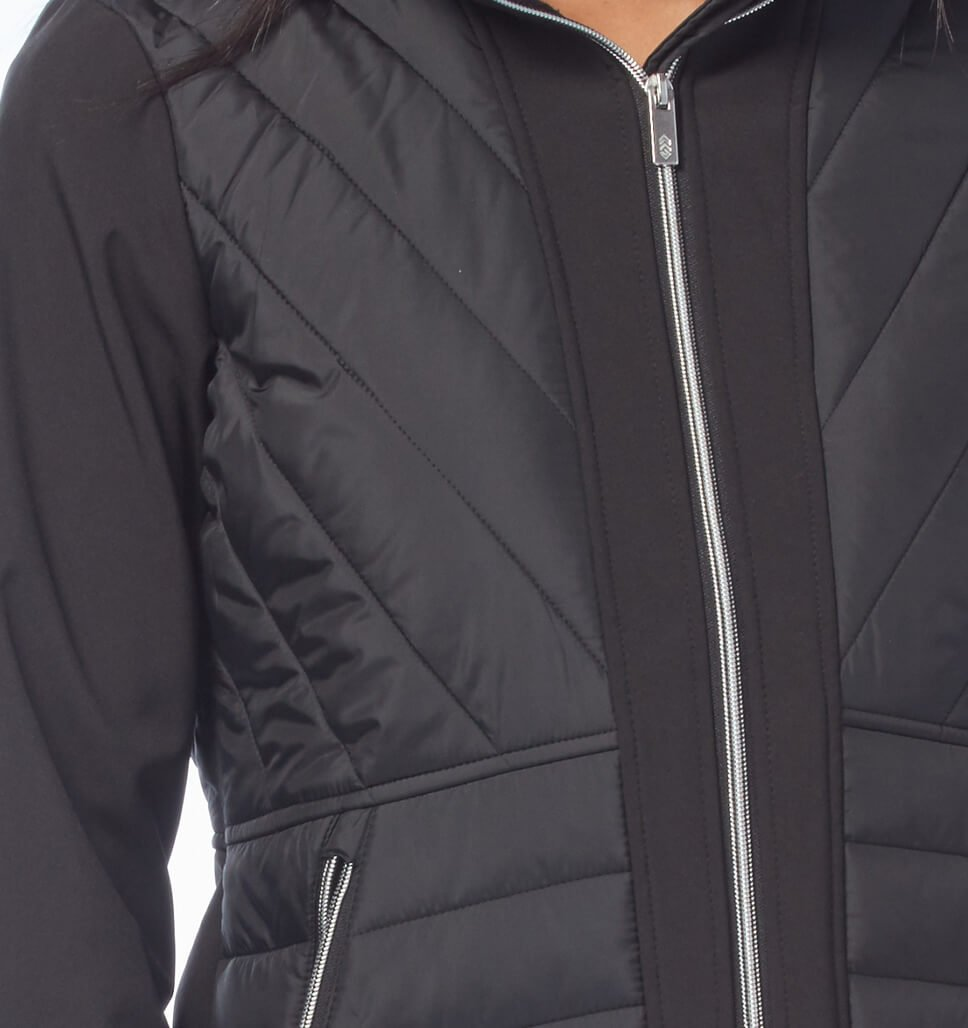Free Country Women's Petite Fortified Hybrid Softshell Jacket - Black