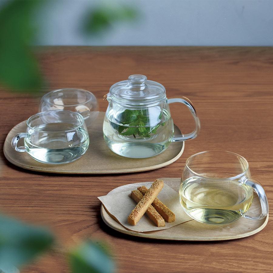 UNITEA teapot 450ml and UNITEA cup 350ml on a UNITEA nonslip tray